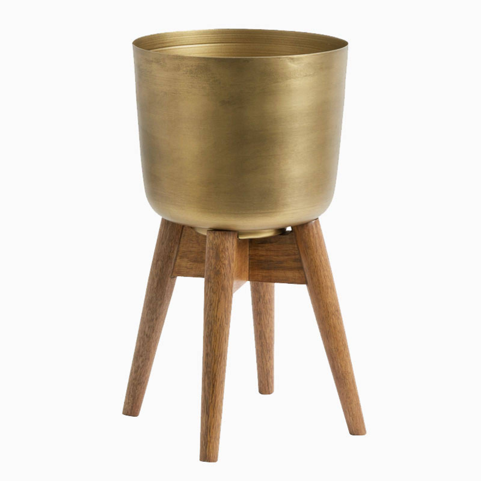 Medium Brass Planter With Wooden Base 38cm