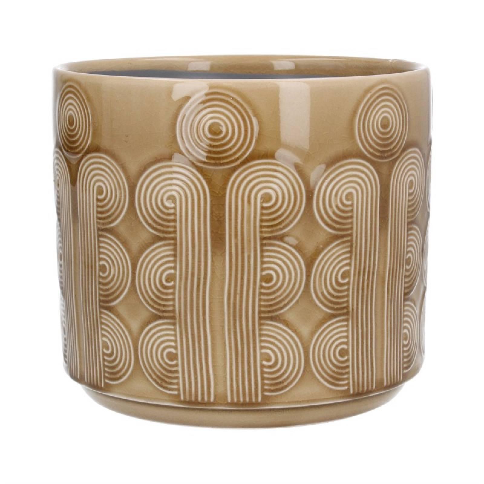 Medium Retro Circles Ceramic Flowerpot Cover In Mustard