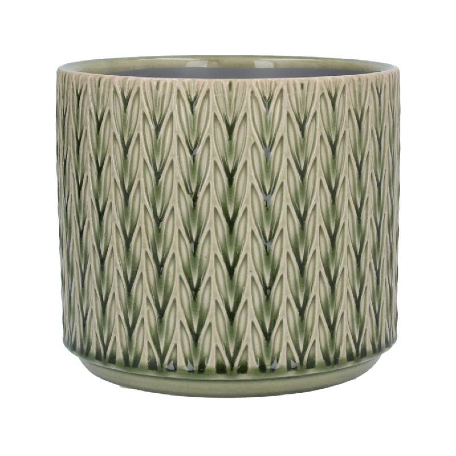 Medium Staghorn Ceramic Flowerpot Cover In Green