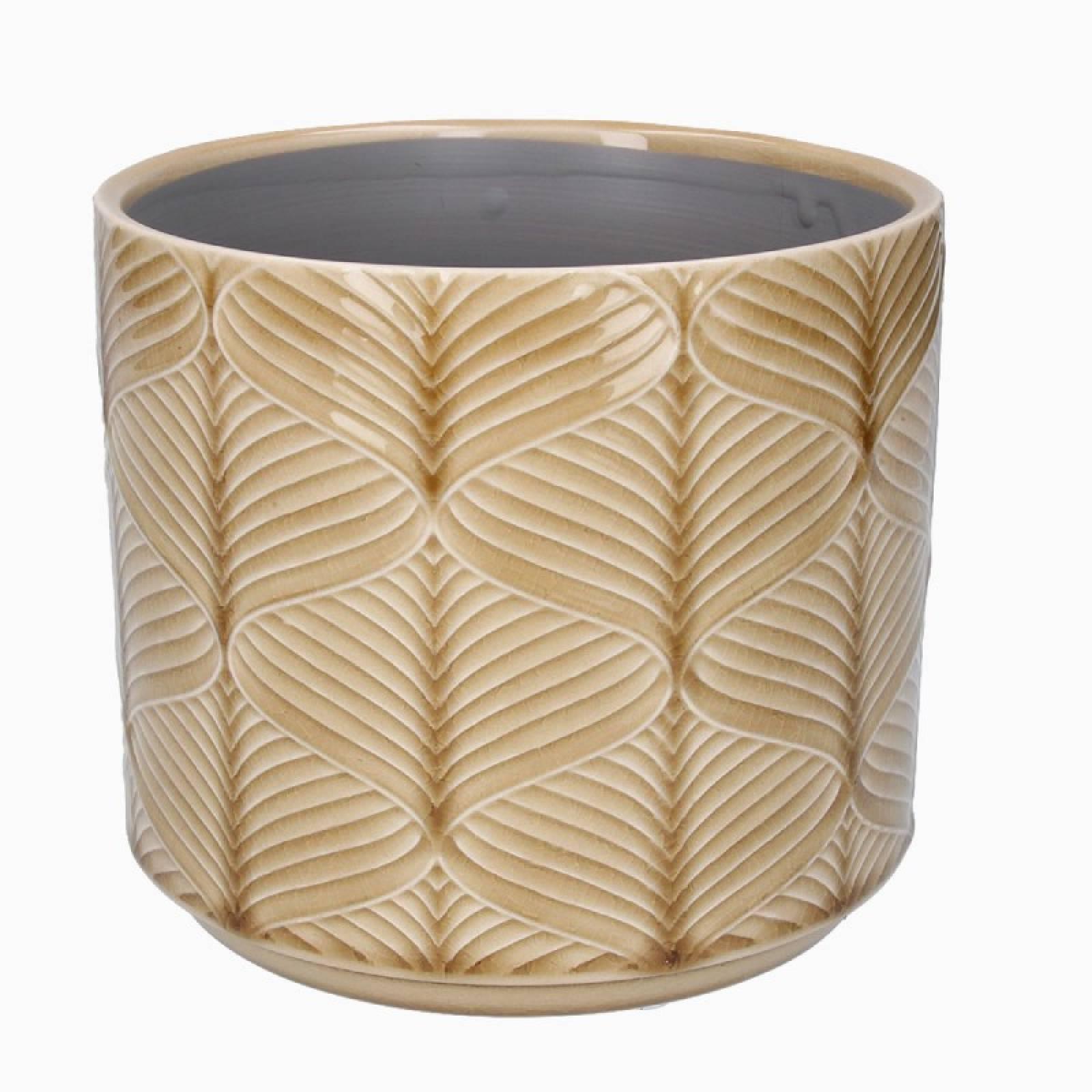 Medium Wavy Ceramic Flower Pot Cover In Mustard