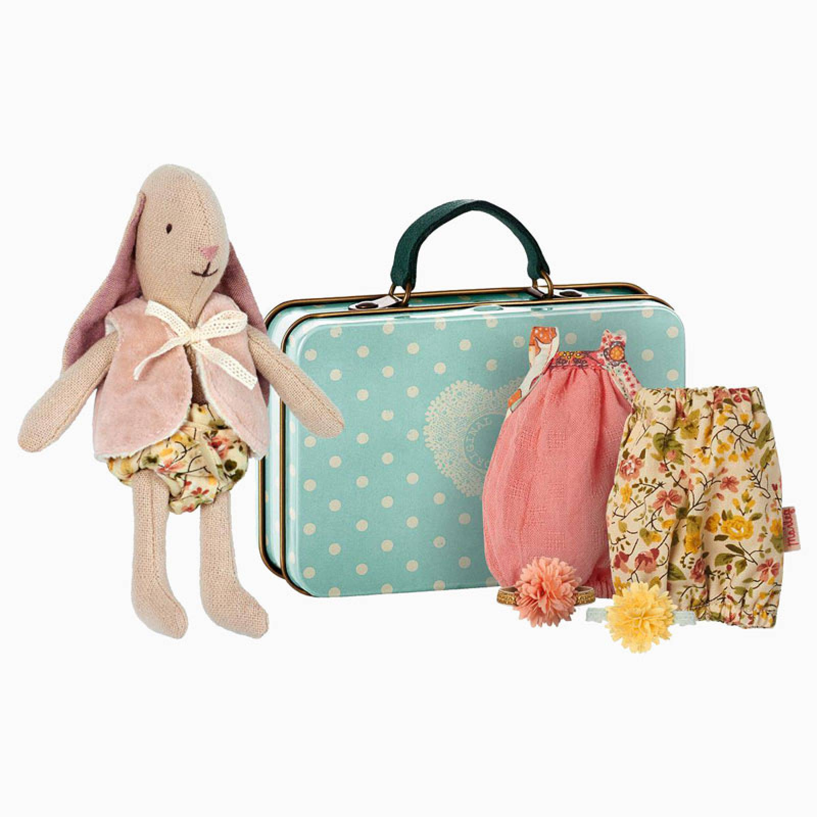 Micro Bunny Soft Toy With Clothes In Tin By Maileg 3+