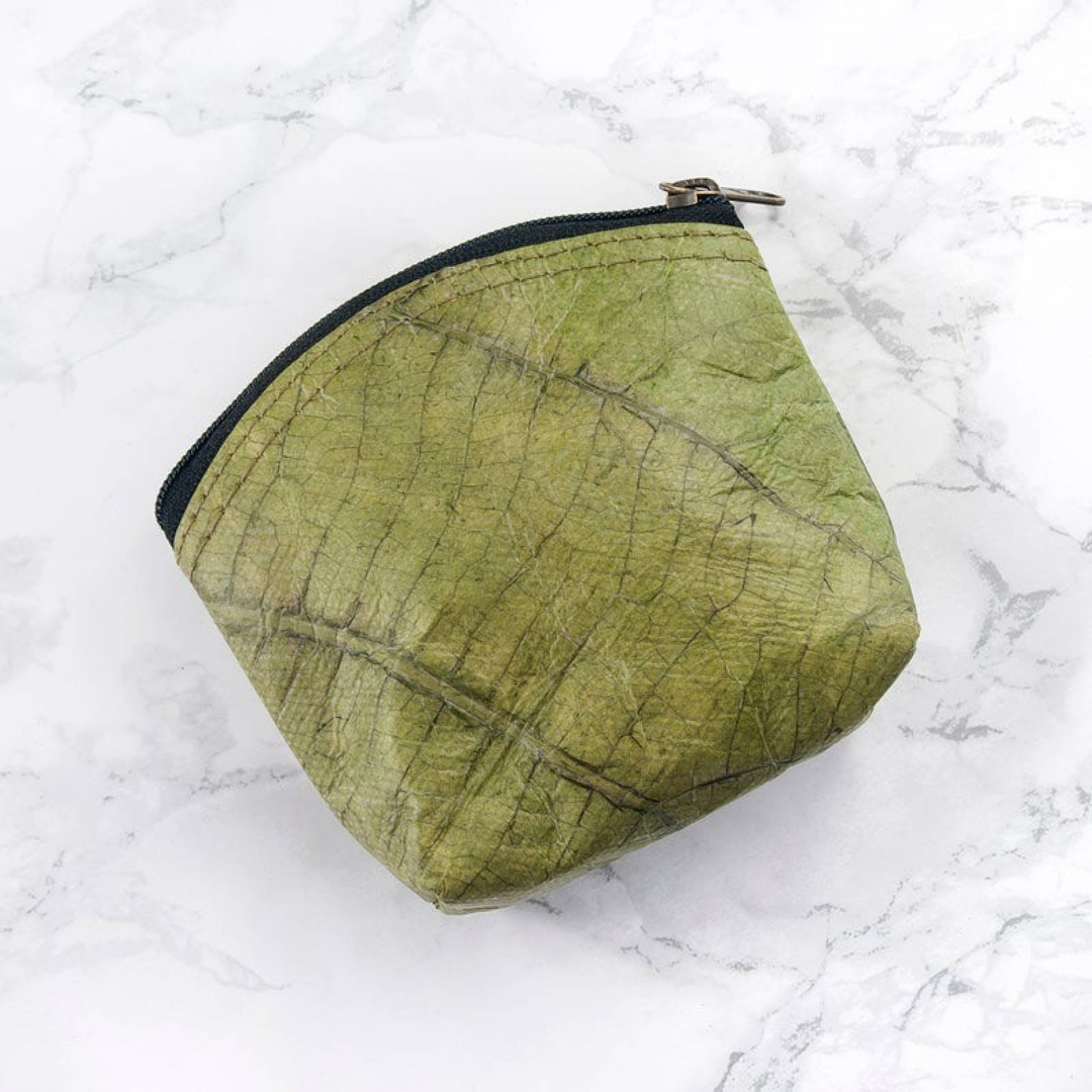 Mini Coin Purse In Leaf Leather - Green