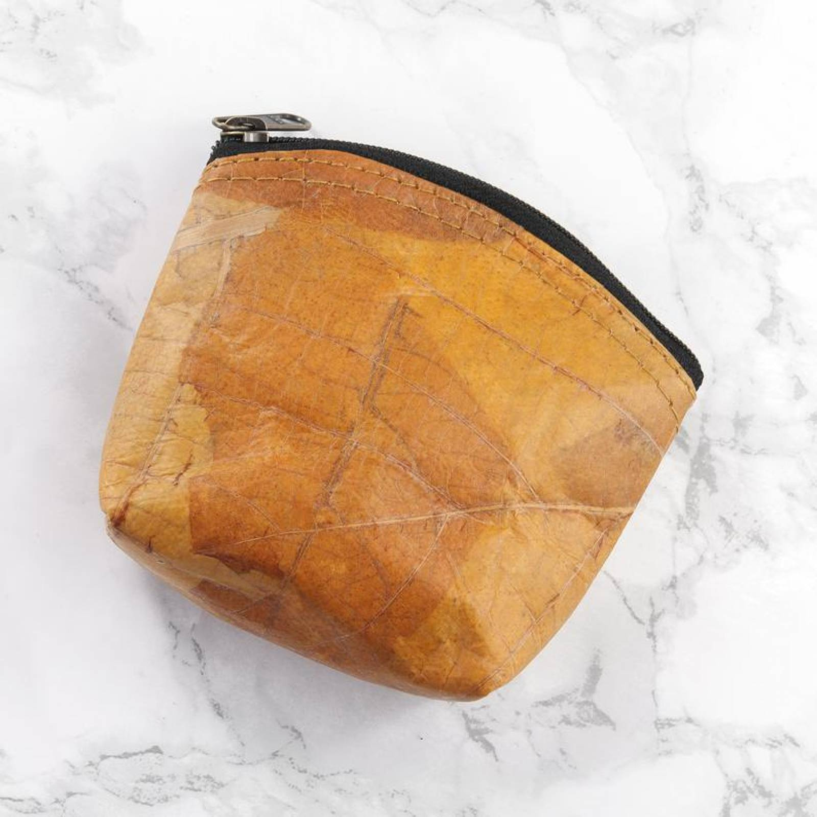 Mini Coin Purse In Leaf Leather - Yellow