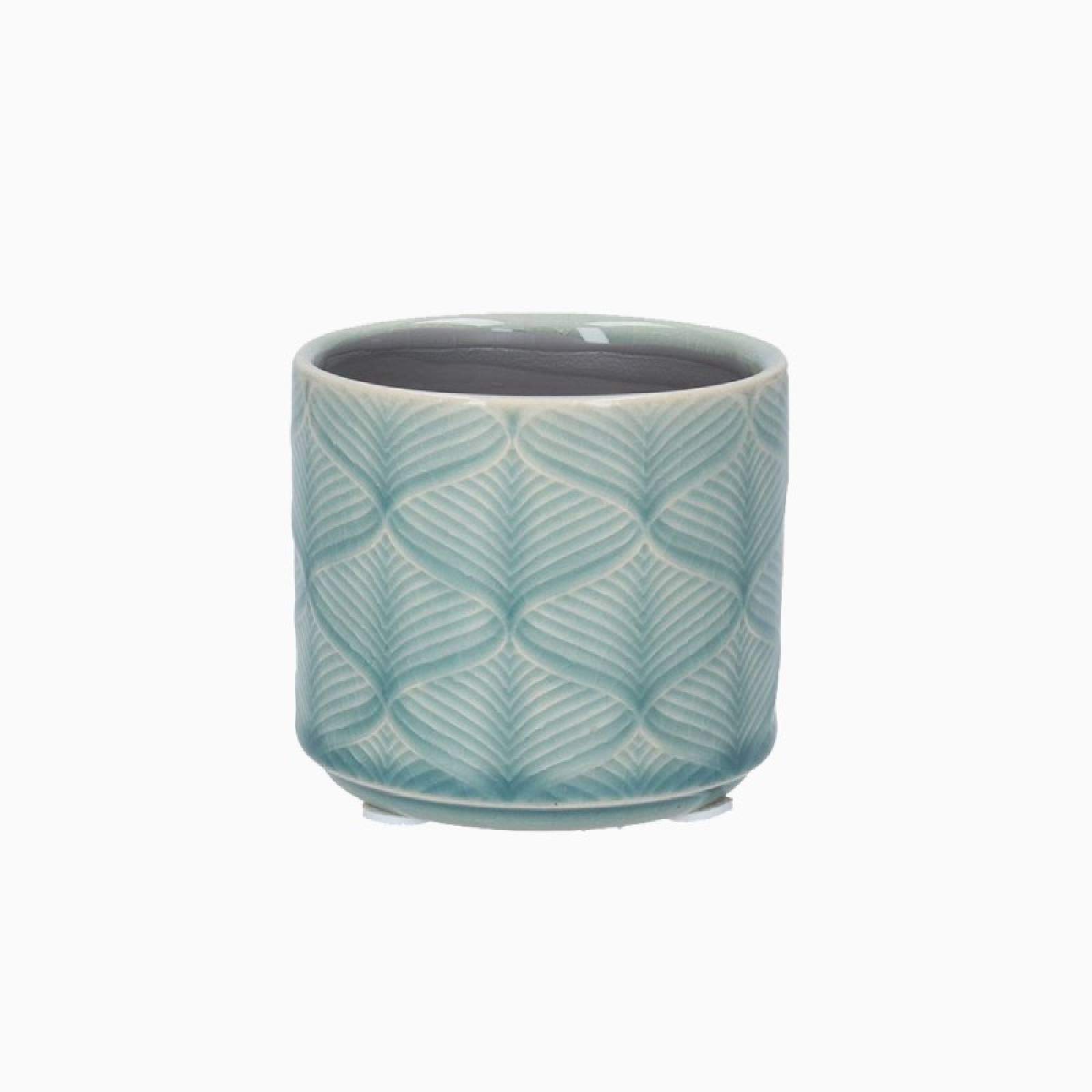 Mini Wavy Ceramic Flower Pot Cover In Light Blue