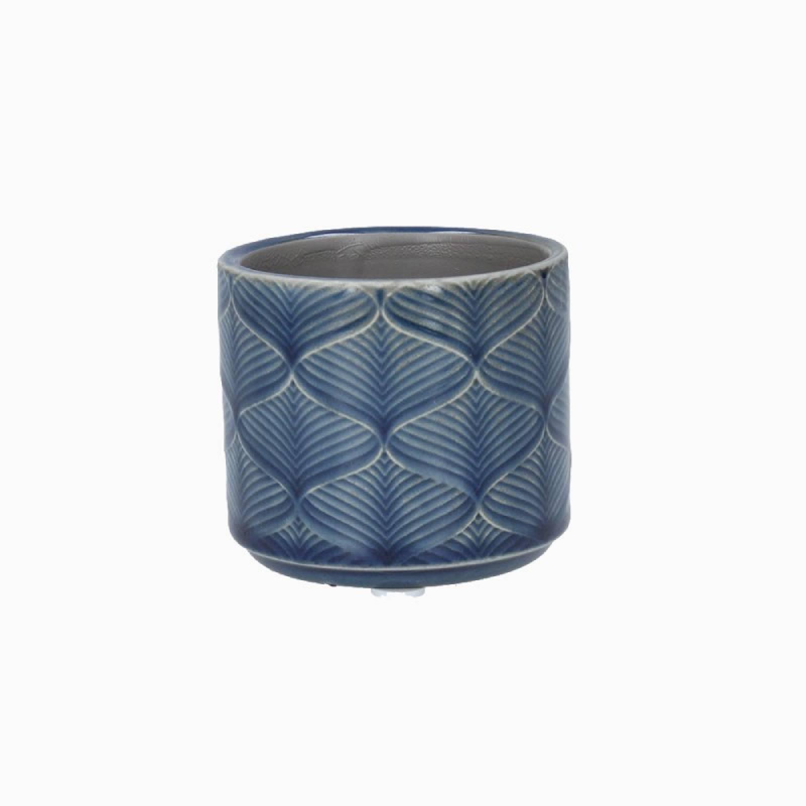 Mini Wavy Ceramic Flower Pot Cover In Navy