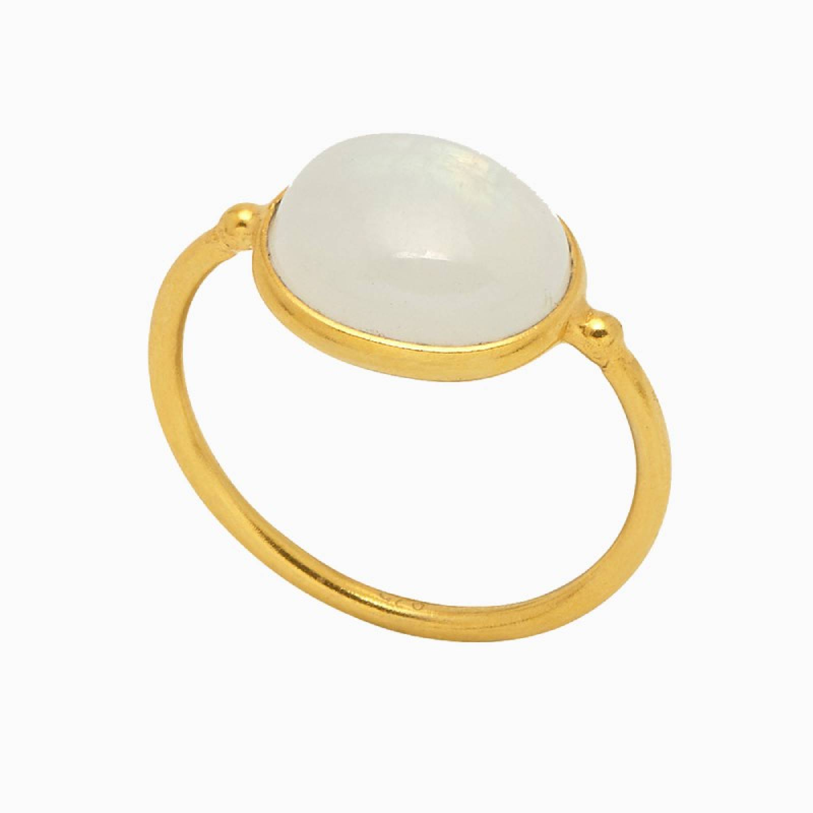 Mira Ring - Moonstone Cabochon In Gold - Large