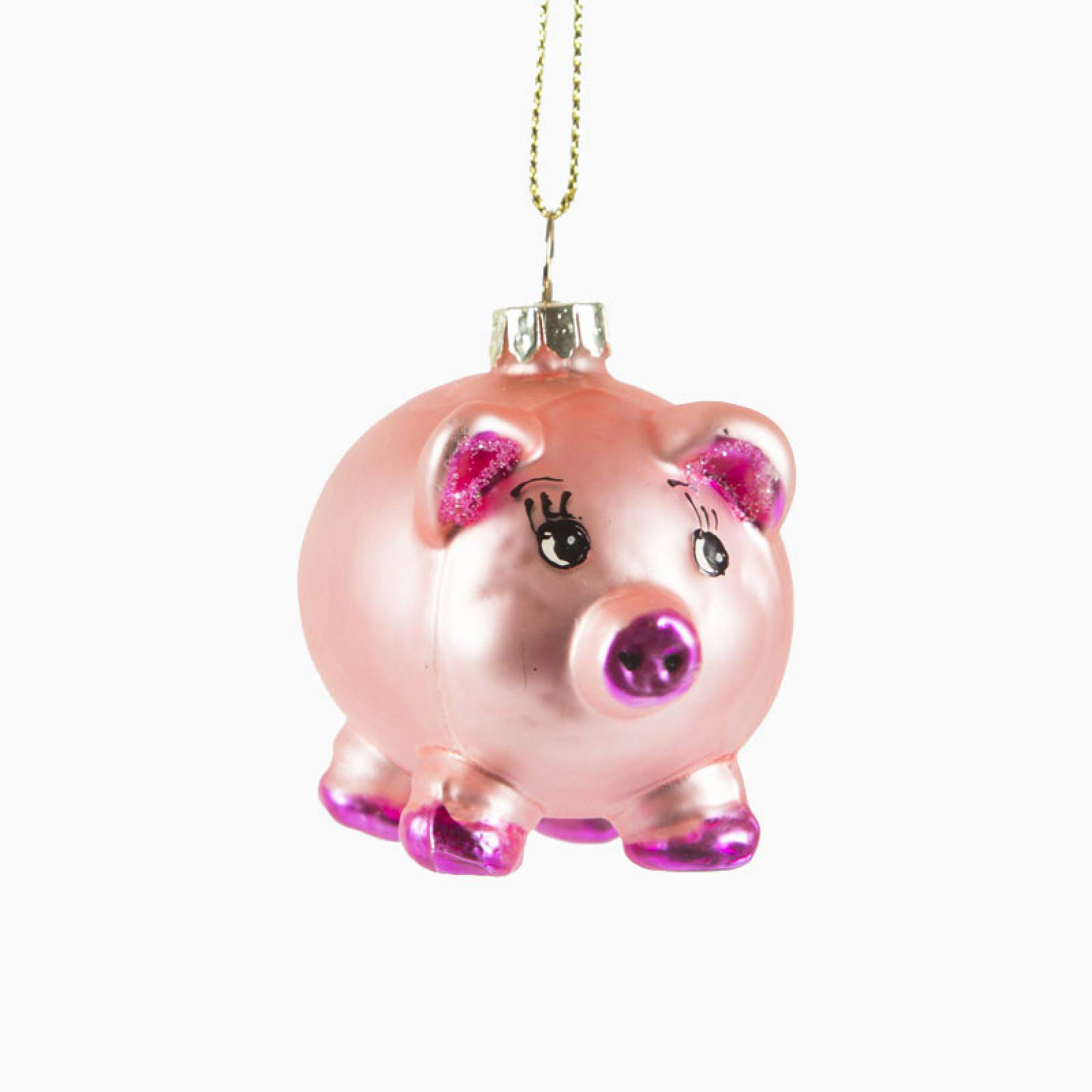 Miss Piglet Glass Christmas Decoration
