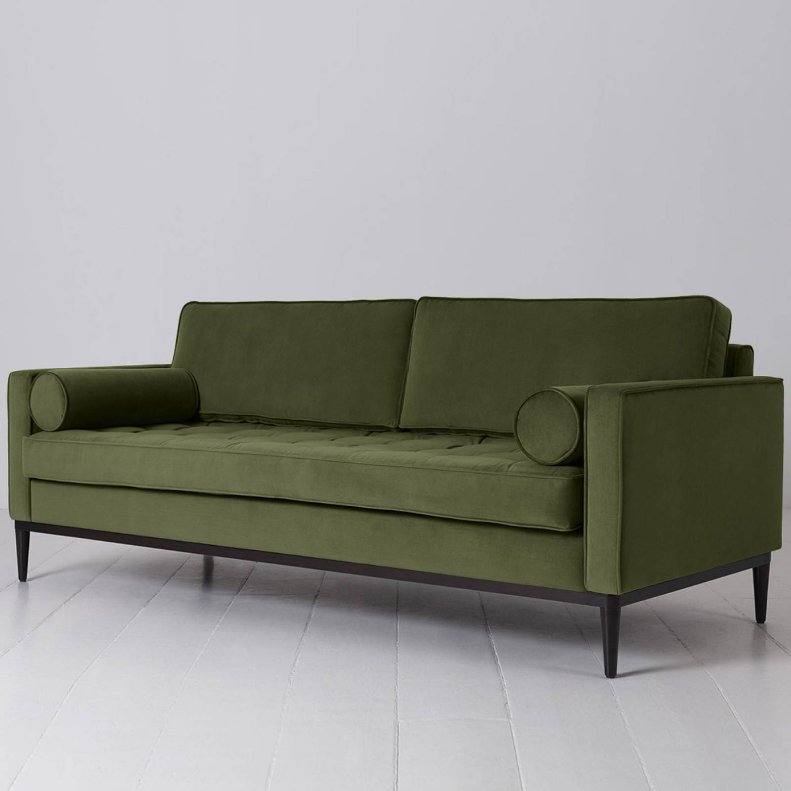 Swyft - Model 02 Velvet 3 Seater Sofa - Vine thumbnails