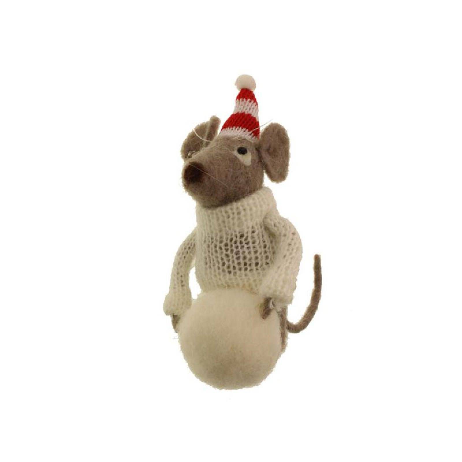 Mouse With Snowball Felt Hanging Christmas Decoration