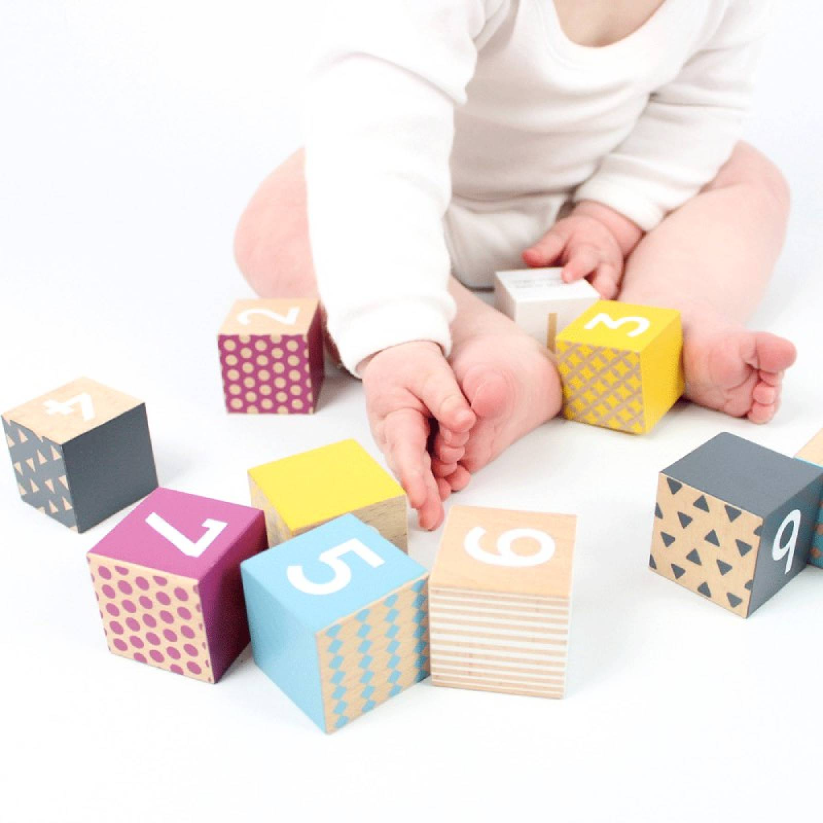 Wooden Number Blocks Multi Coloured FSC Certified 6m+ thumbnails
