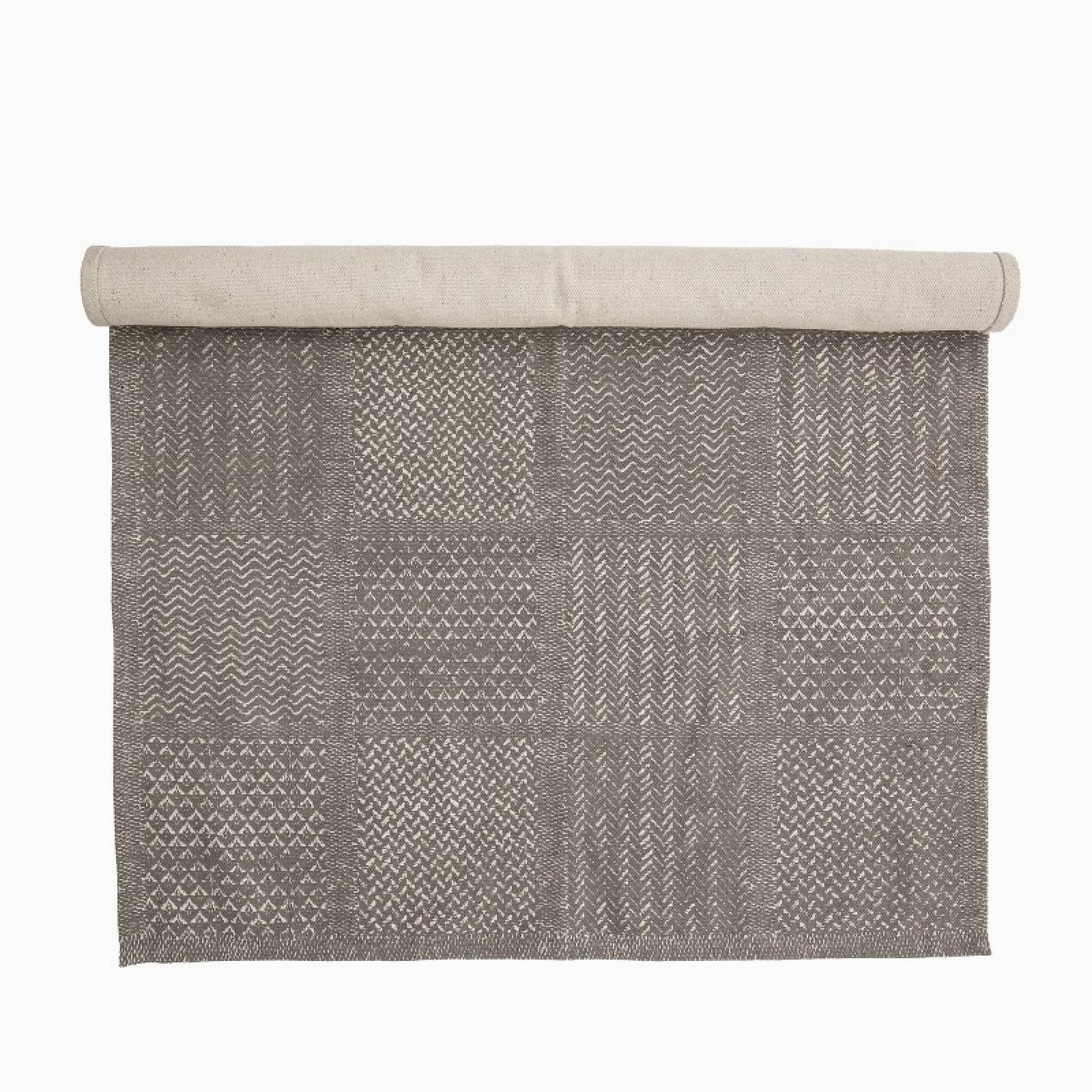 Multi-Textured Woven Cotton Rug In Grey