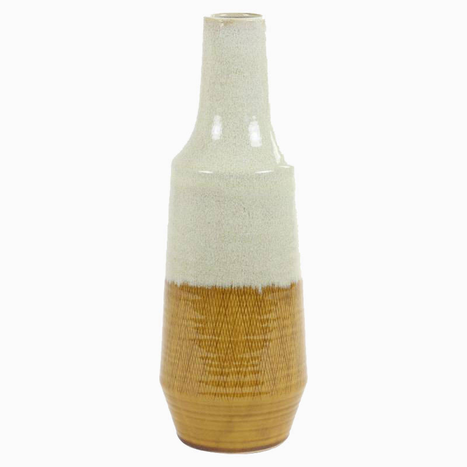 Large Mid-Century Style Cream And Ochre Vase