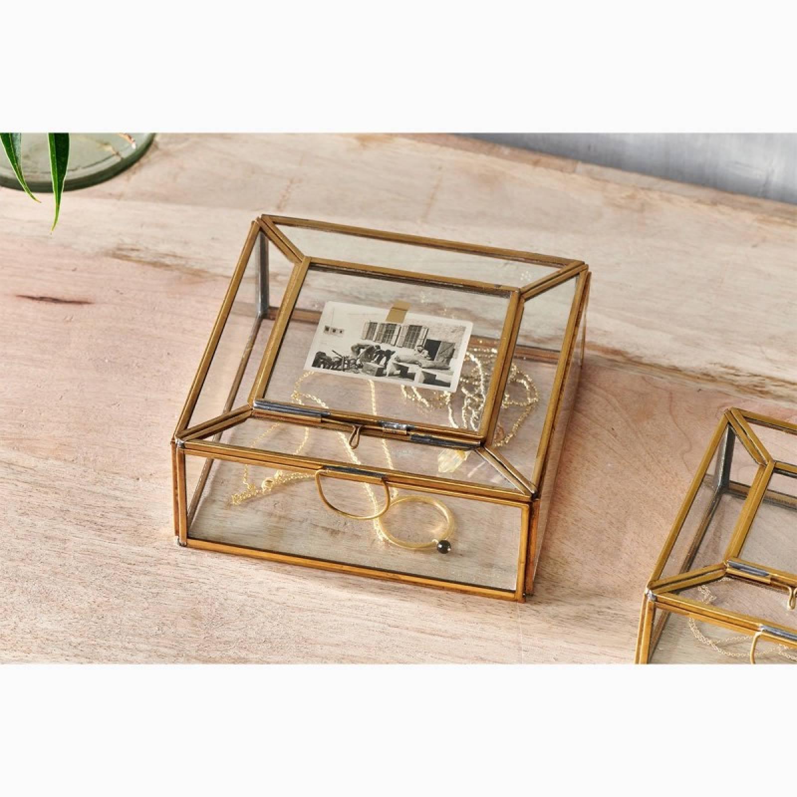 Nalou Glass Trinket Box With Brass Frame thumbnails