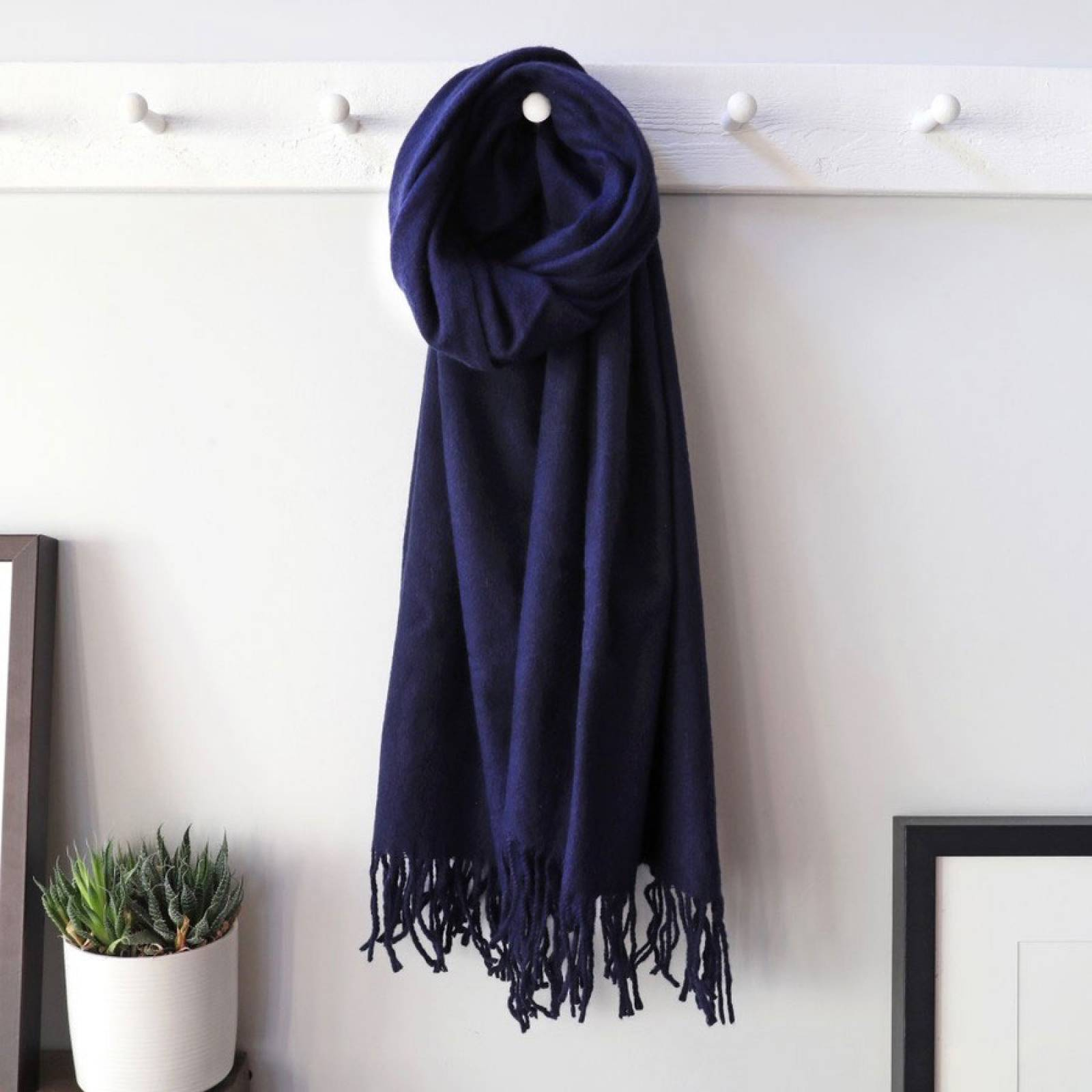 Navy Lambswool Scarf