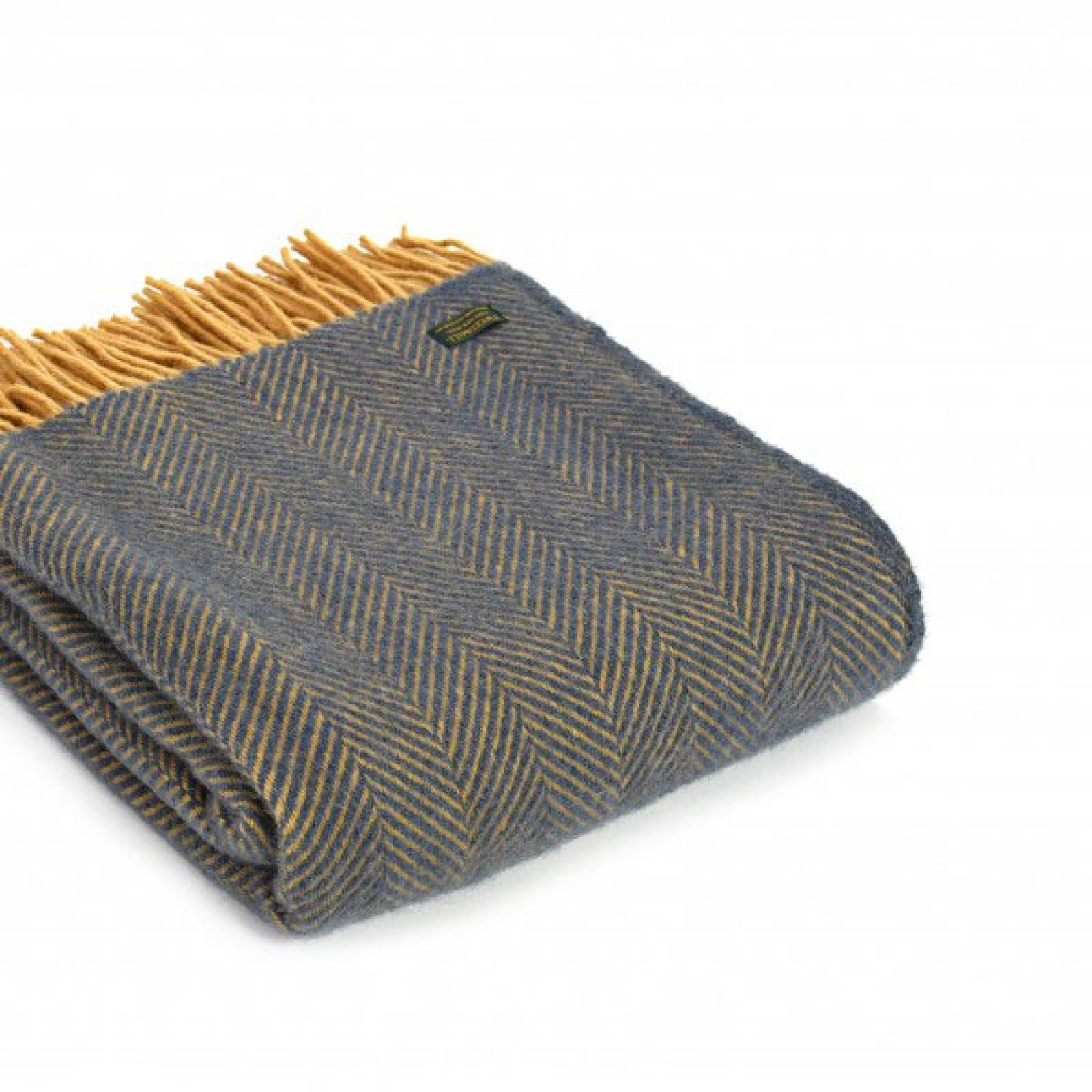 Navy Mustard Herringbone Throw Blanket 150x183cm