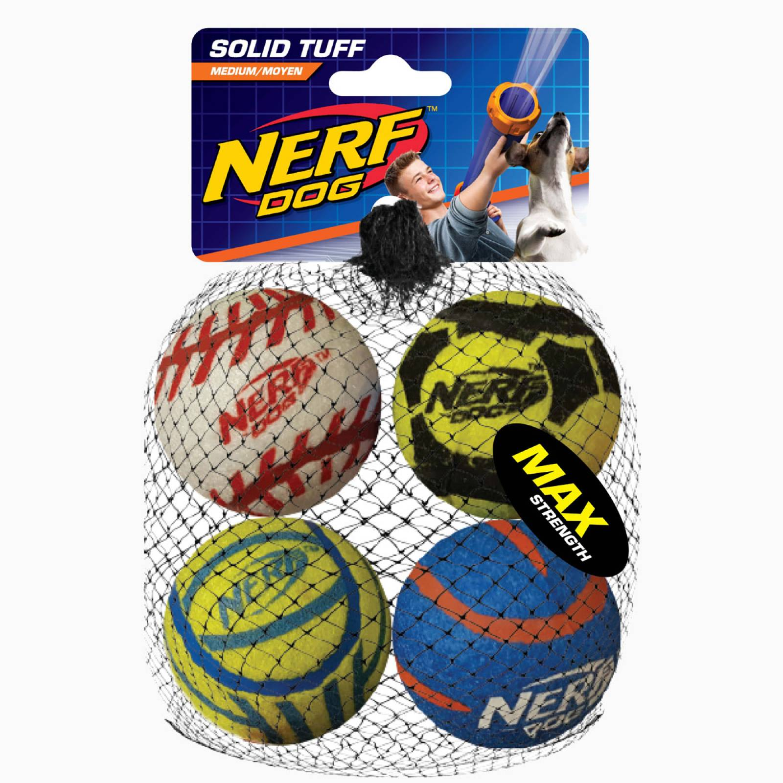 Nerf Dog Mega Strength Sports Balls 4pk