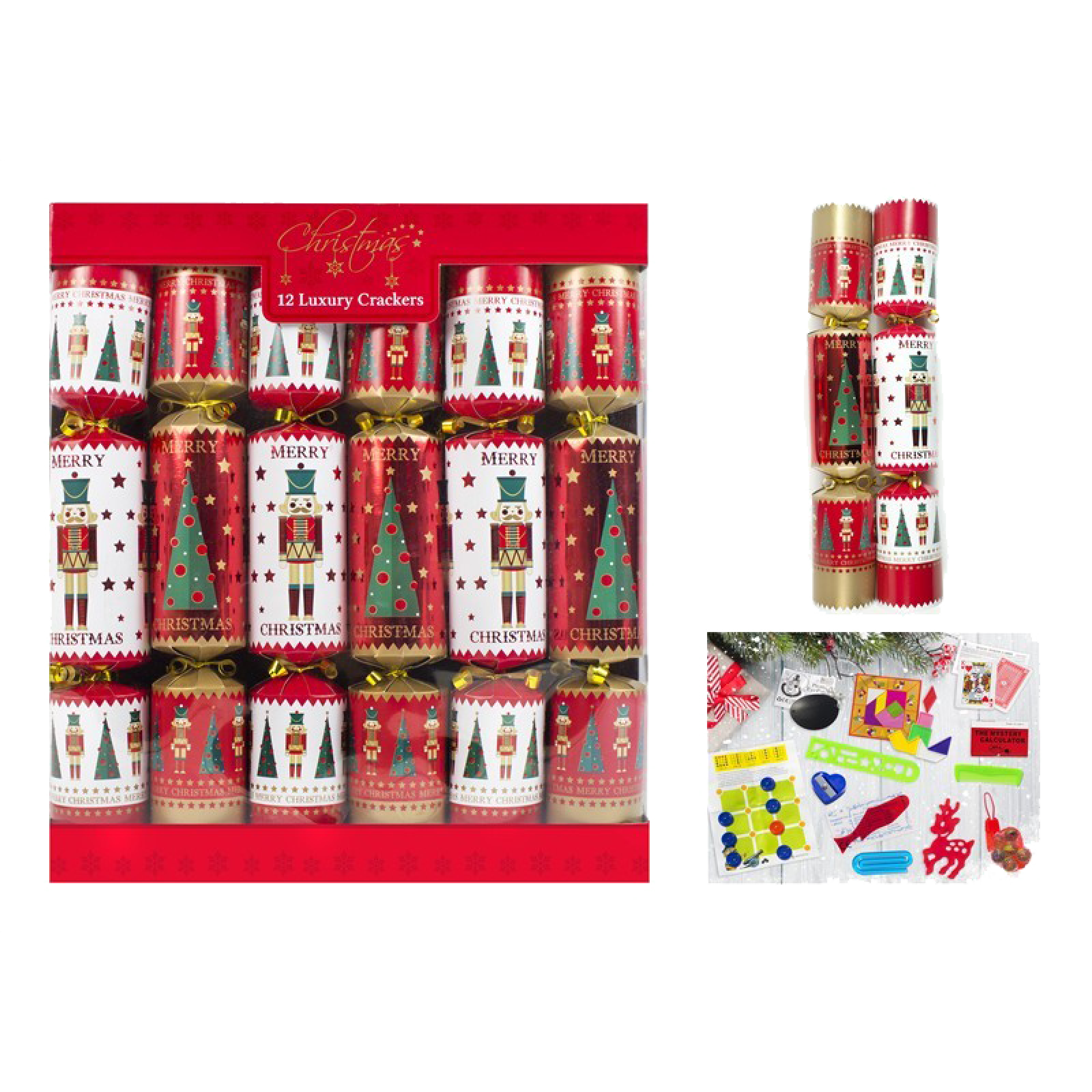 Set Of 12 Luxury Nutcracker Crackers