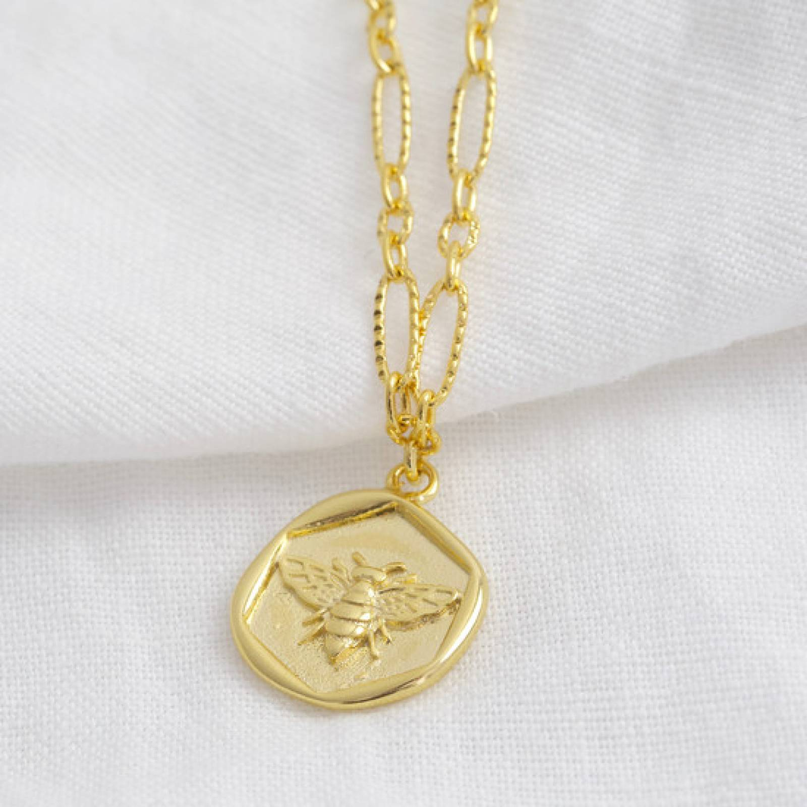 Wax Seal Bee Necklace Gold Plated
