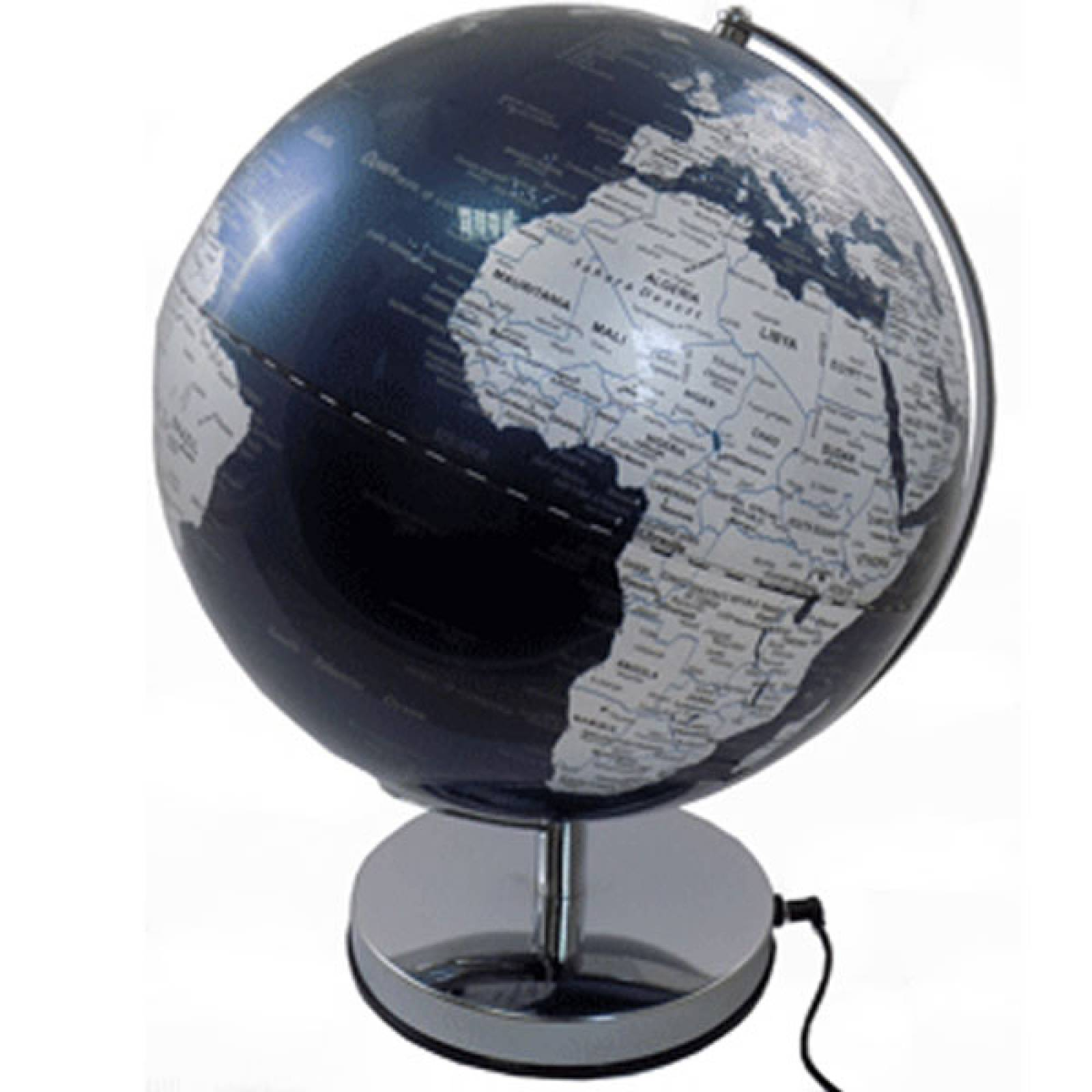 Metallic Blue Ocean Illuminated Globe With Metal Base 12""