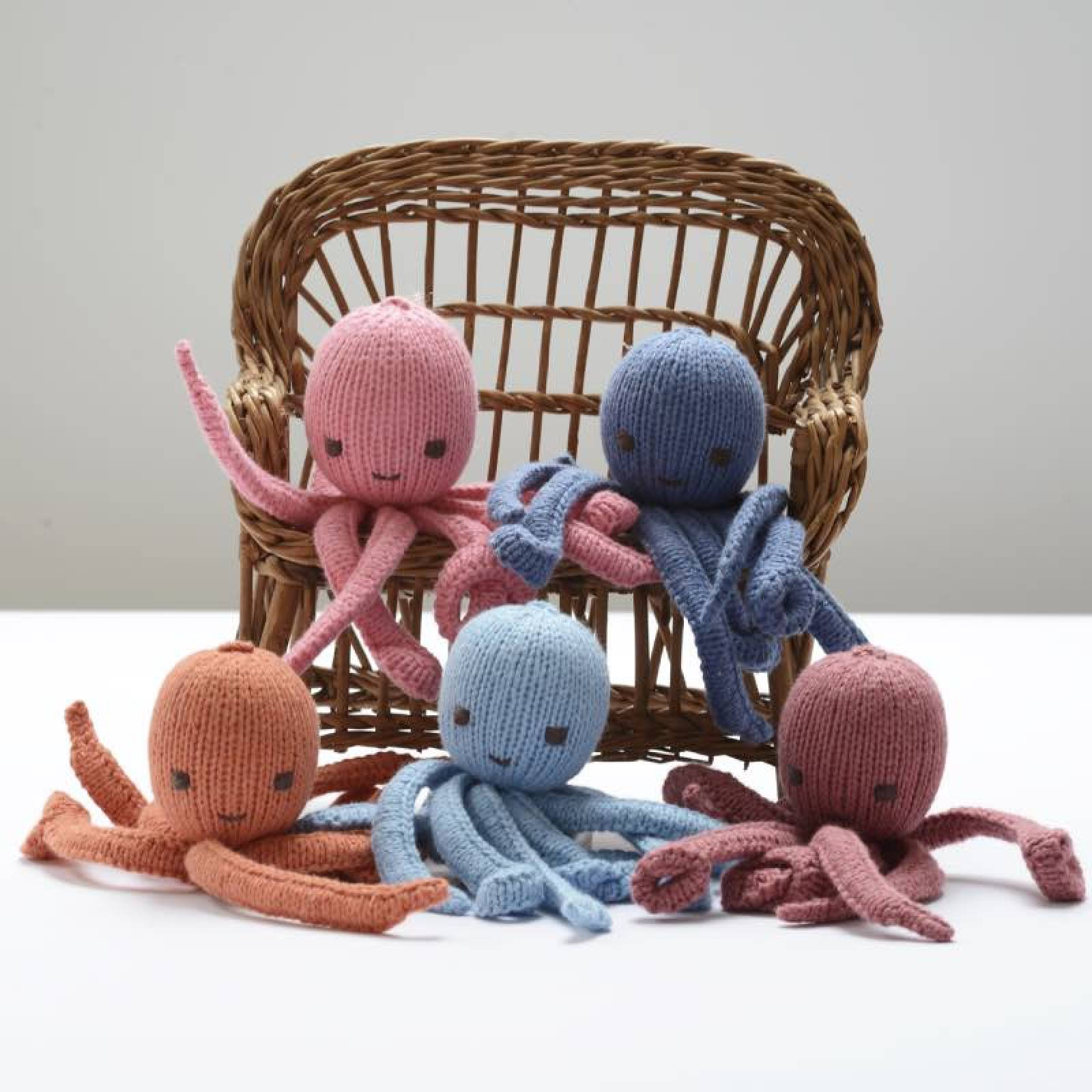 Blue Octopus Hand Knitted Soft Toy Organic Cotton thumbnails