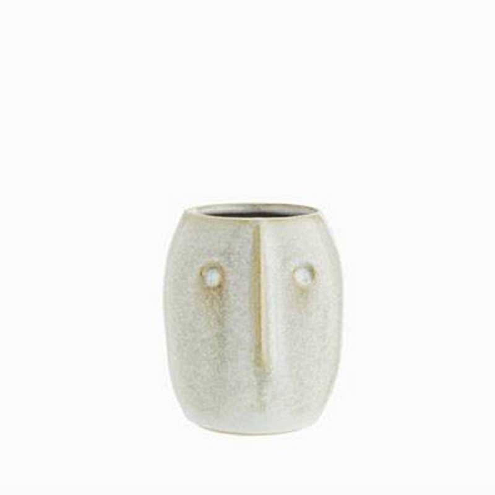 Off White Stoneware Curved Face Vase 10cm