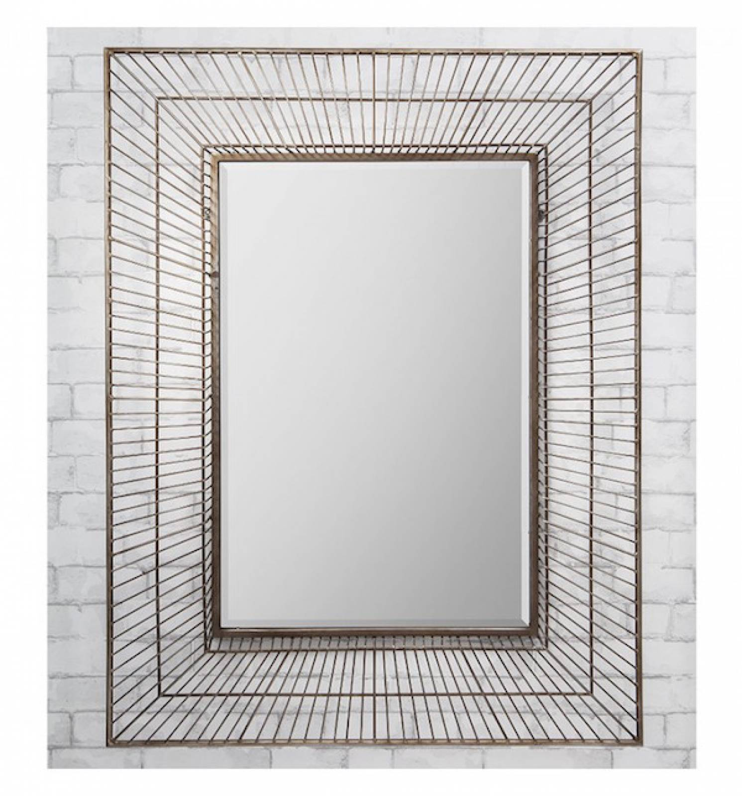 Olden Large Rectangular Wire Frame Mirror thumbnails