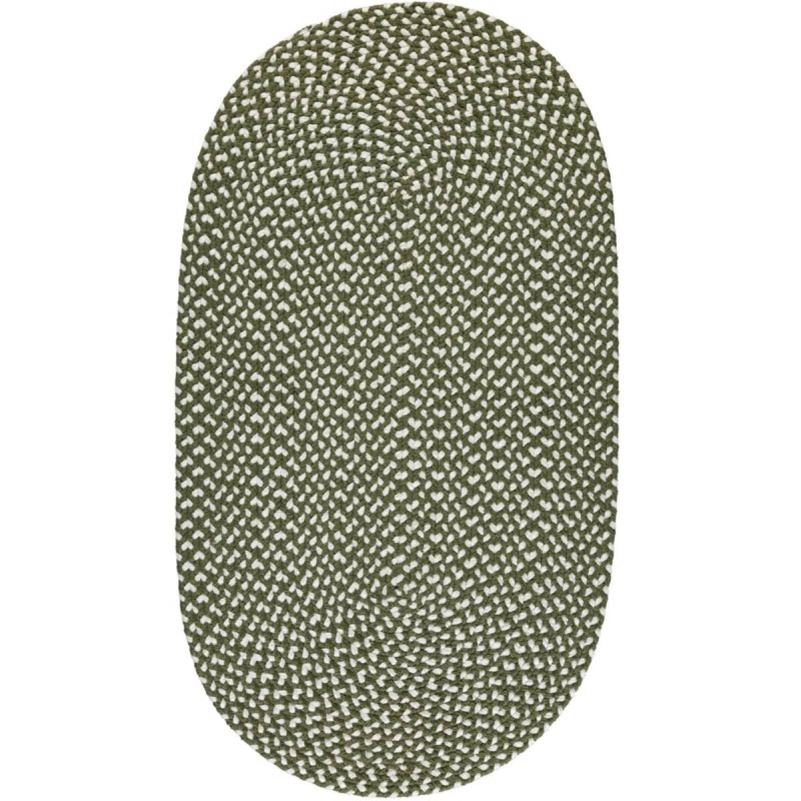 Olive Oval Braided Rug Recycled Plastic 69x122cm