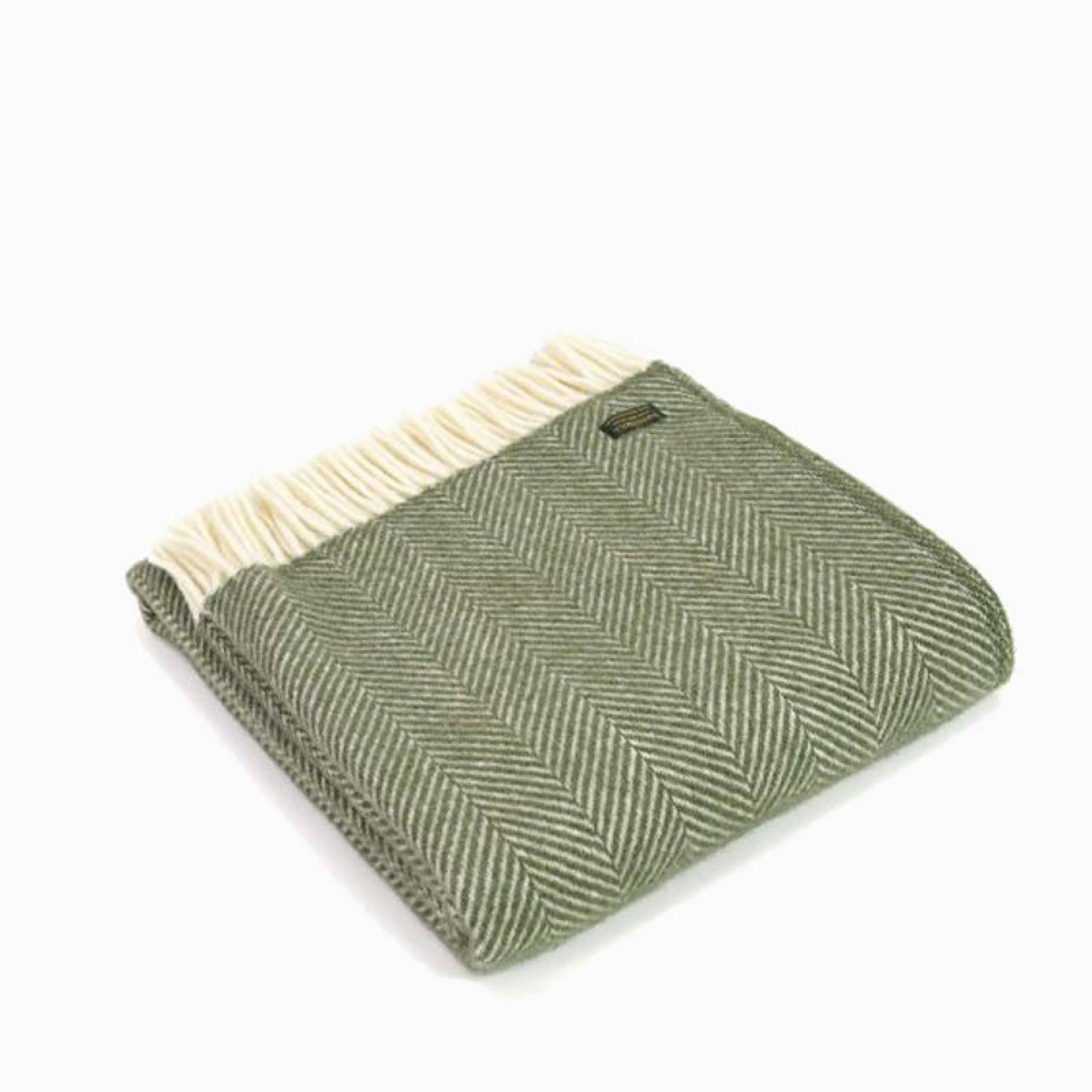 Fishbone Olive Wool Throw 70x183cm