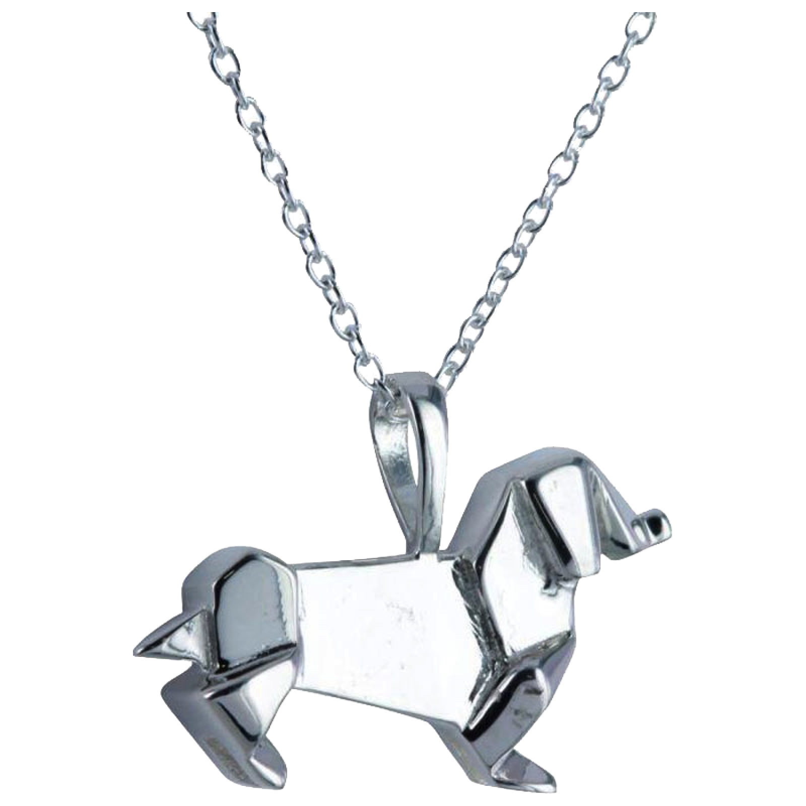 Daschund Origami Necklace - Sterling Silver