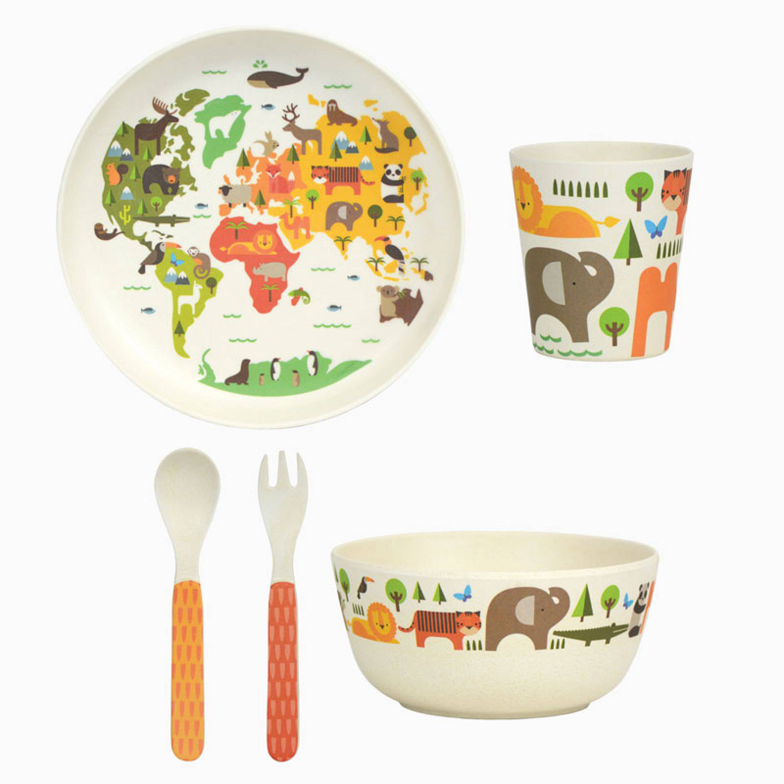 Children's Our World Bamboo Dinnerware Set  By Petit Collage