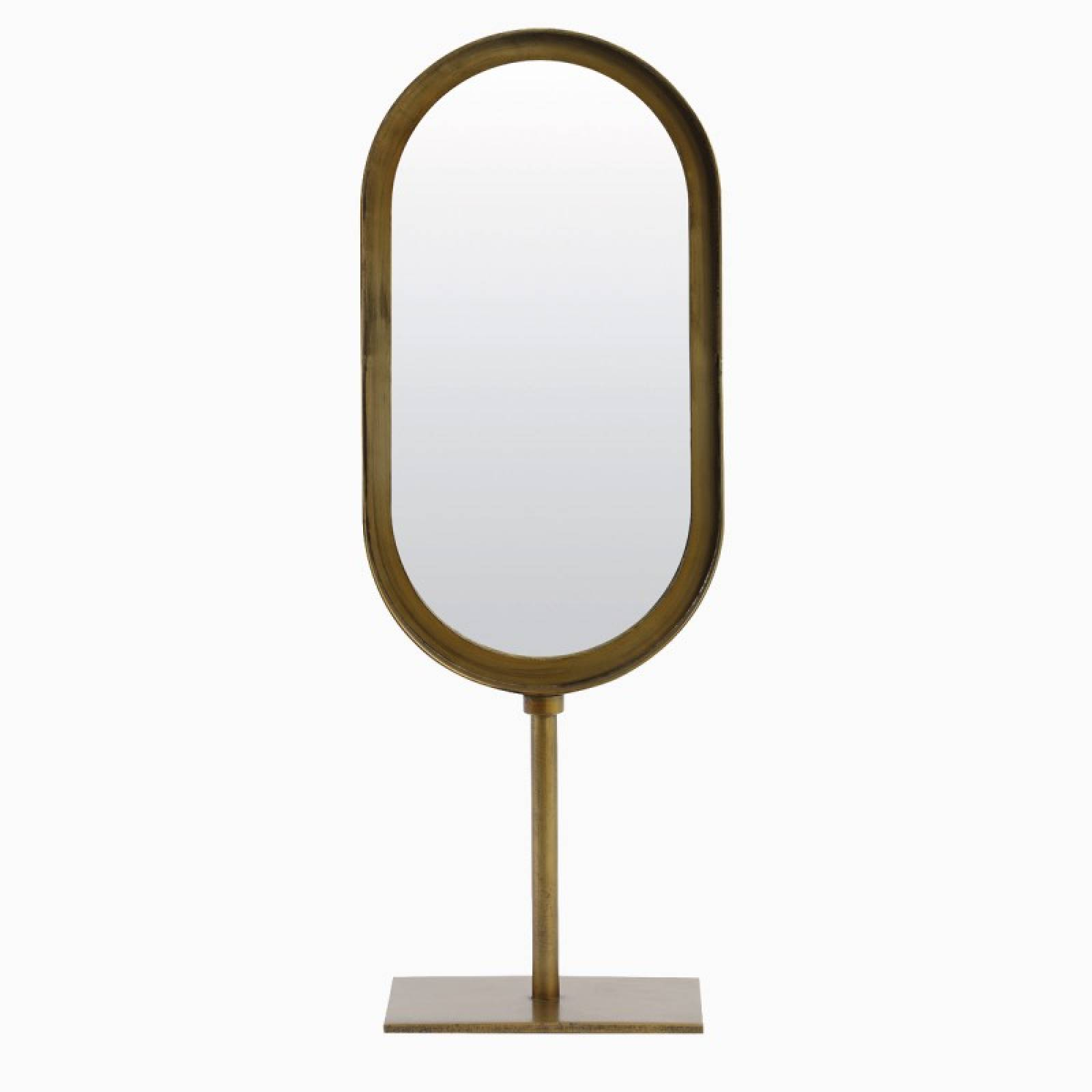 Oval Lure Mirror With Metal Frame On Stand In Brass 16x45cm
