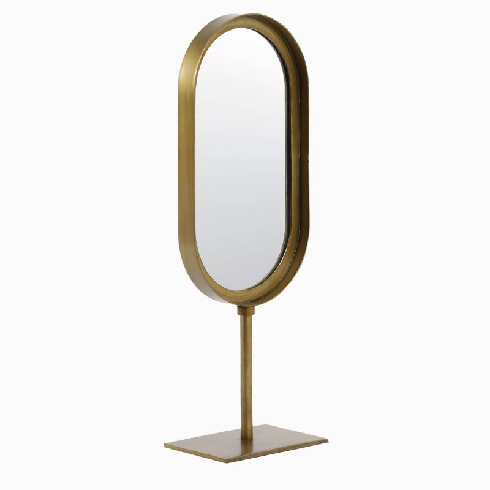 Oval Lure Mirror With Metal Frame On Stand In Brass 16x45cm thumbnails