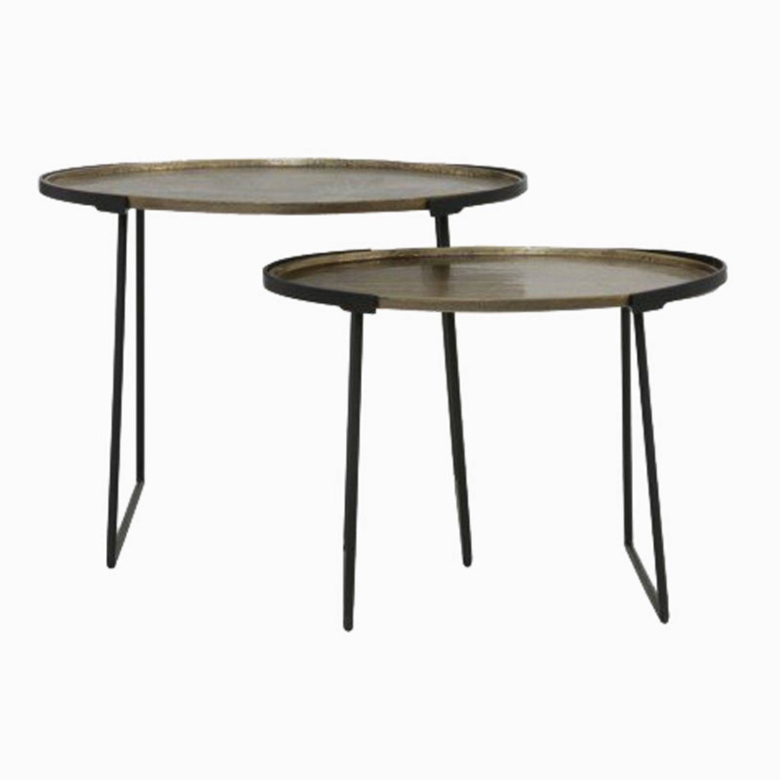 Pair Of Oval Nesting Side Tables In Antique Bronze