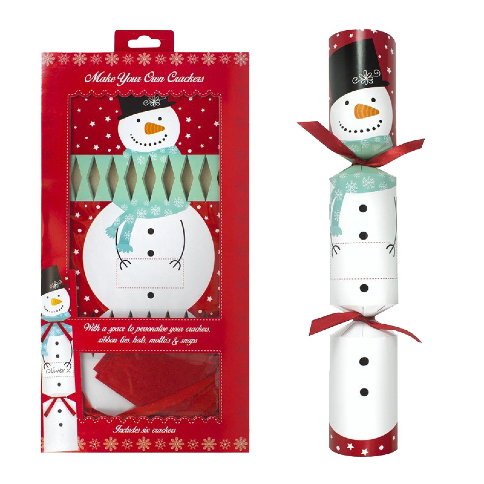 Pack Of 6 Make Your Own Snowman Crackers