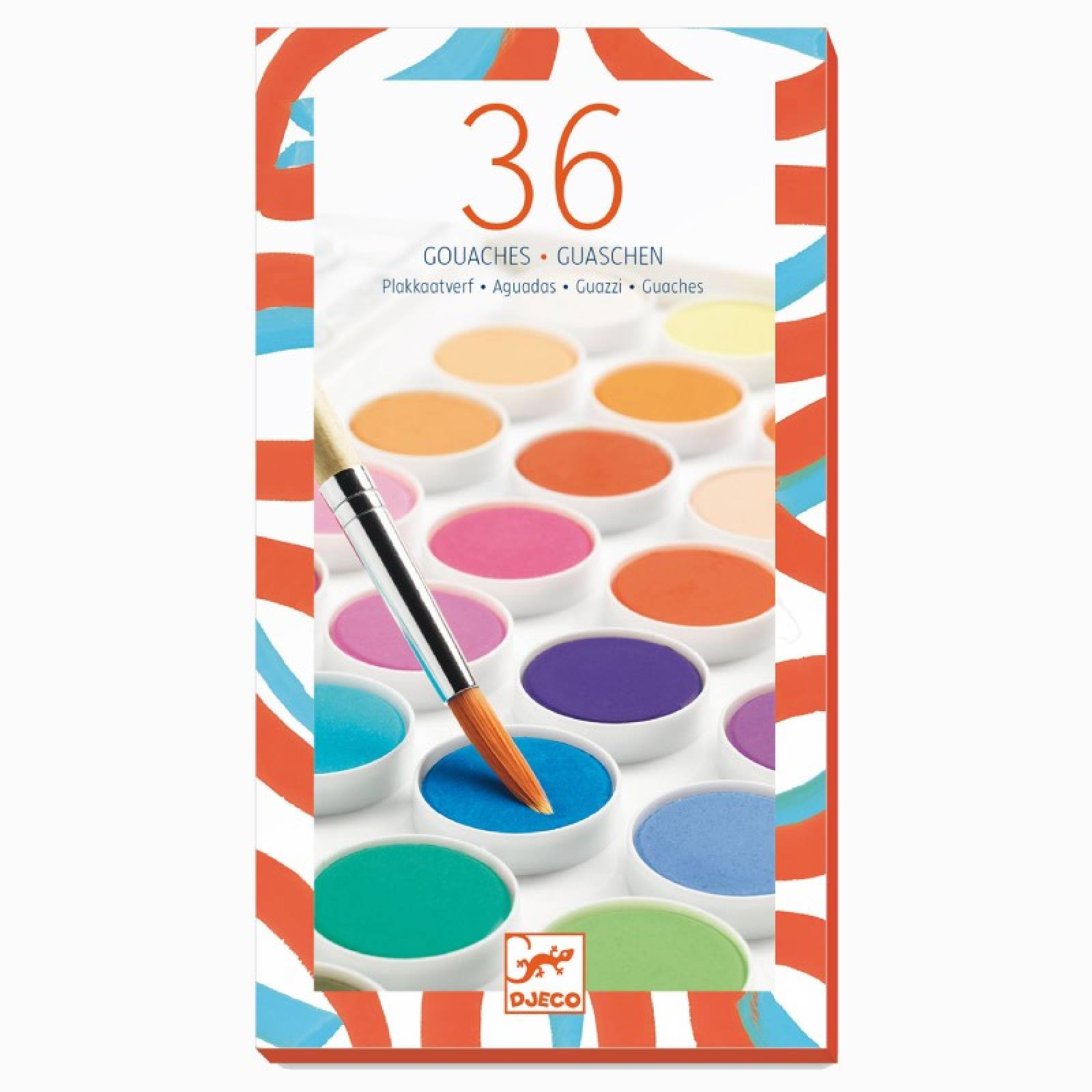 Paint Box Set Of 36 Gouache Colours With Brush By Djeco