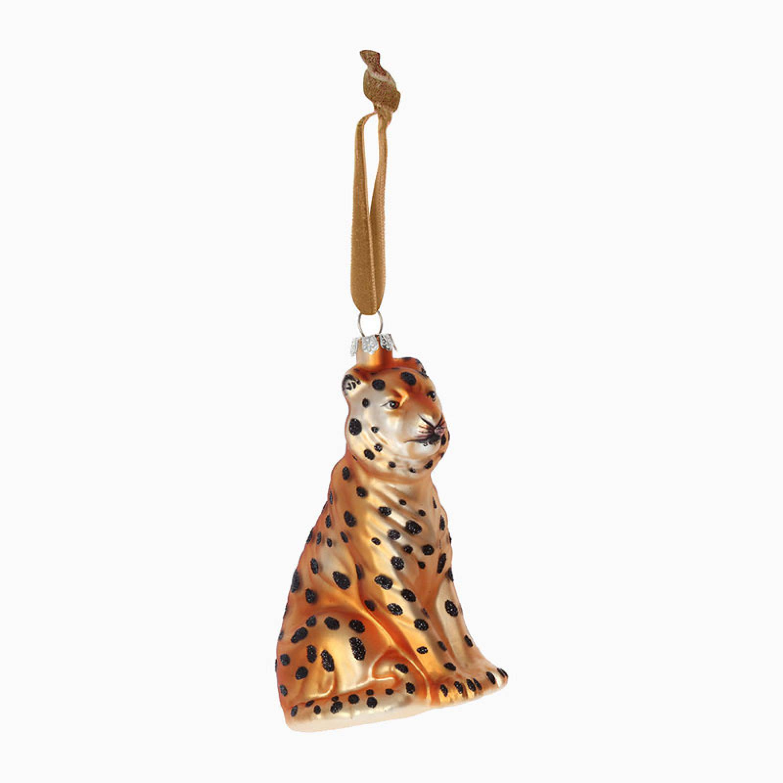 Painted Glass Cheetah Christmas Decoration