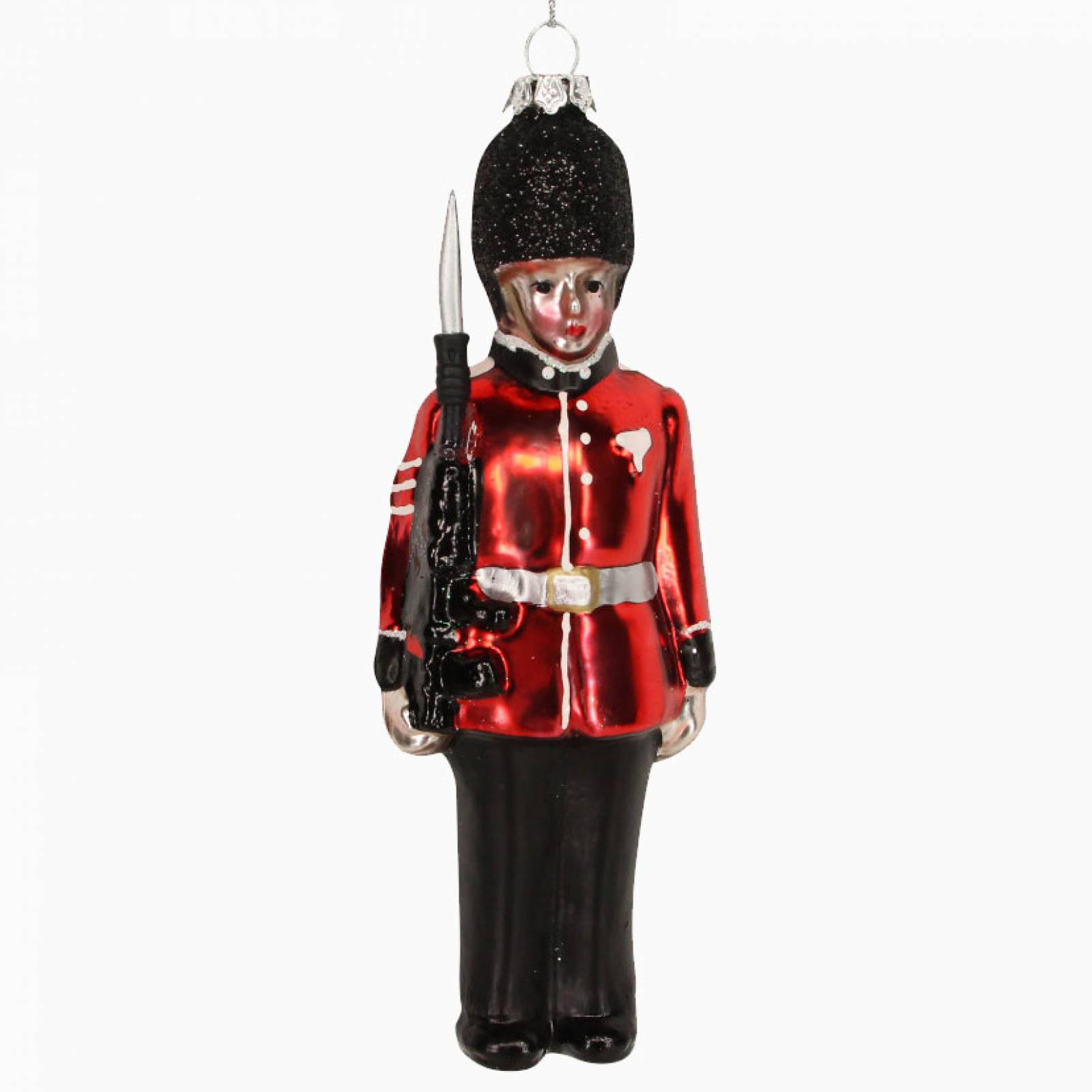Painted Glass Soldier Christmas Decoration