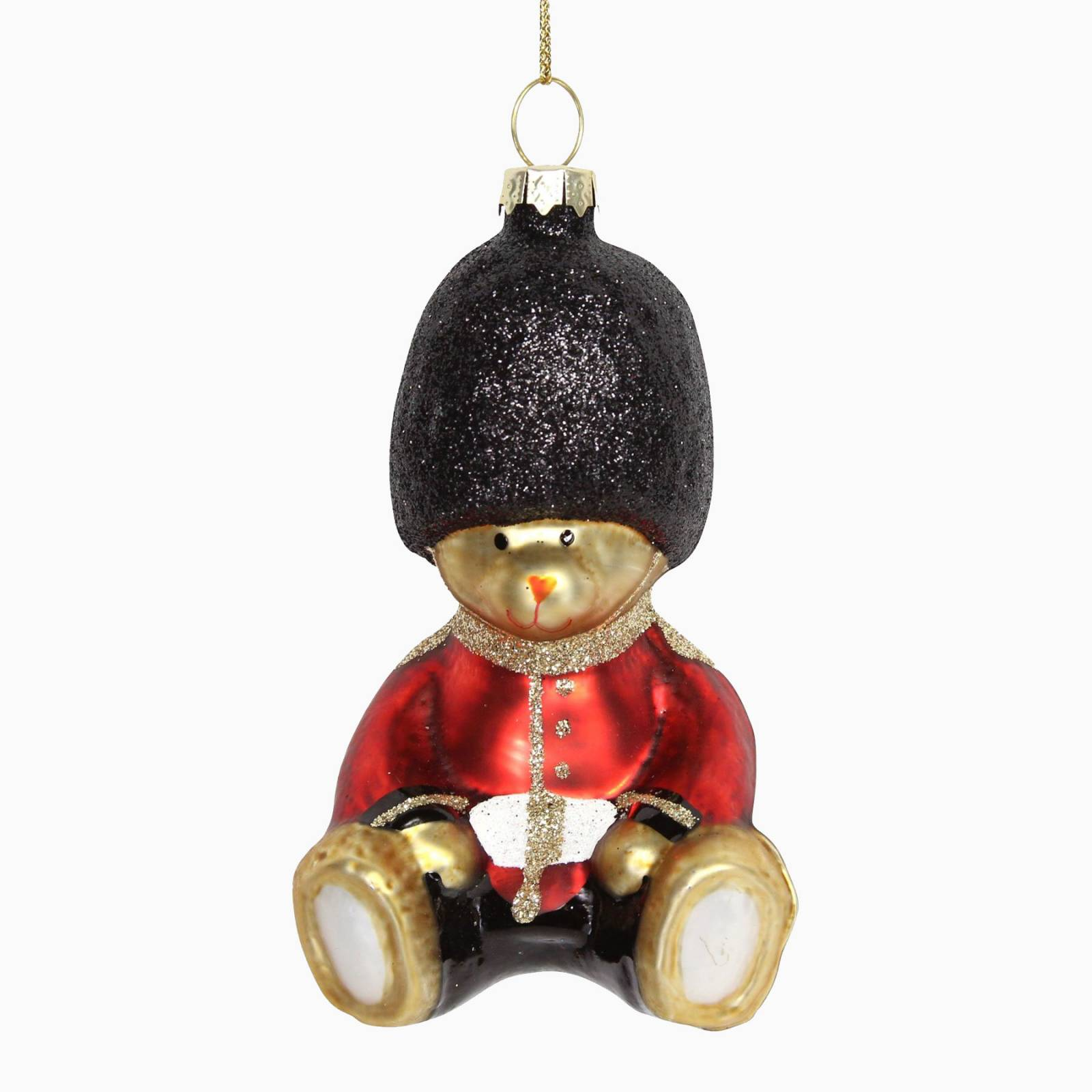 Painted Glass Teddy Soldier Christmas Decoration
