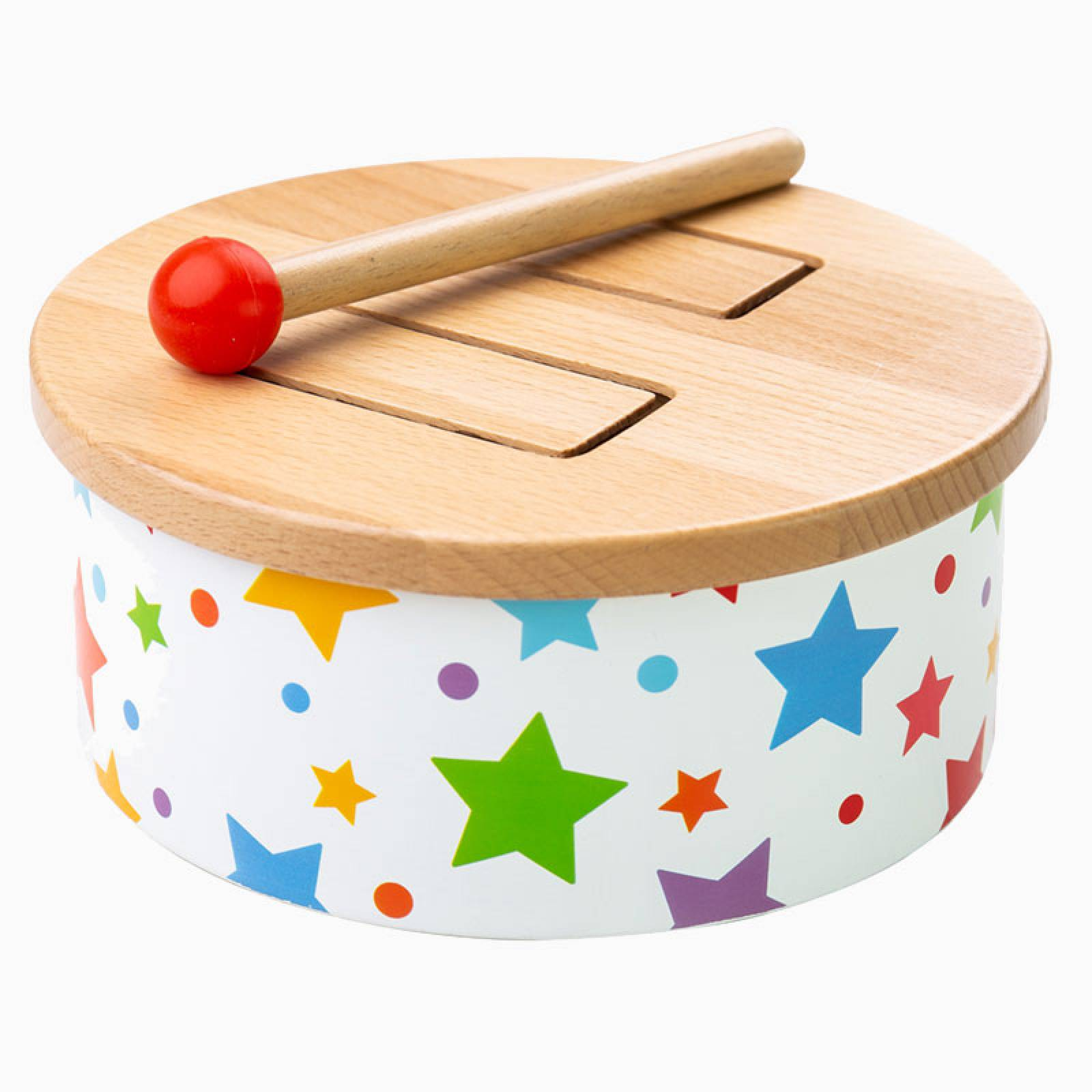 Painted Wooden Drum With Stars