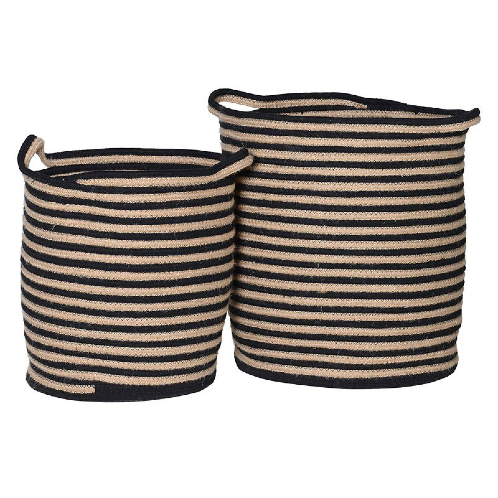 A Set Of Two Cotton Woven Striped Black Baskets With Handles