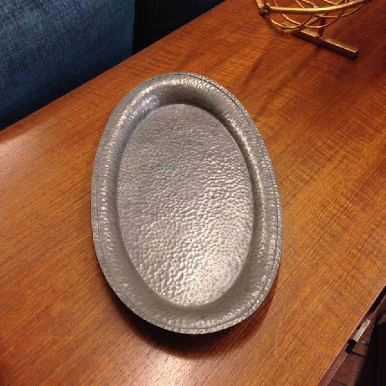 Pair Of Pewter Hand Hammered Oval Pewter Trays From Harrods thumbnails