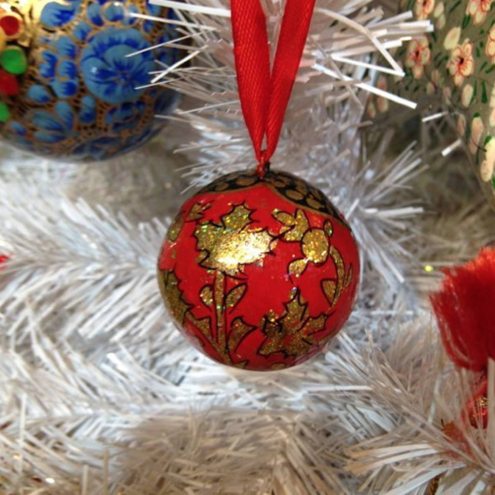 Small BALL BAUBLE Papier Mache Fairtrade Christmas Decor 1.5""