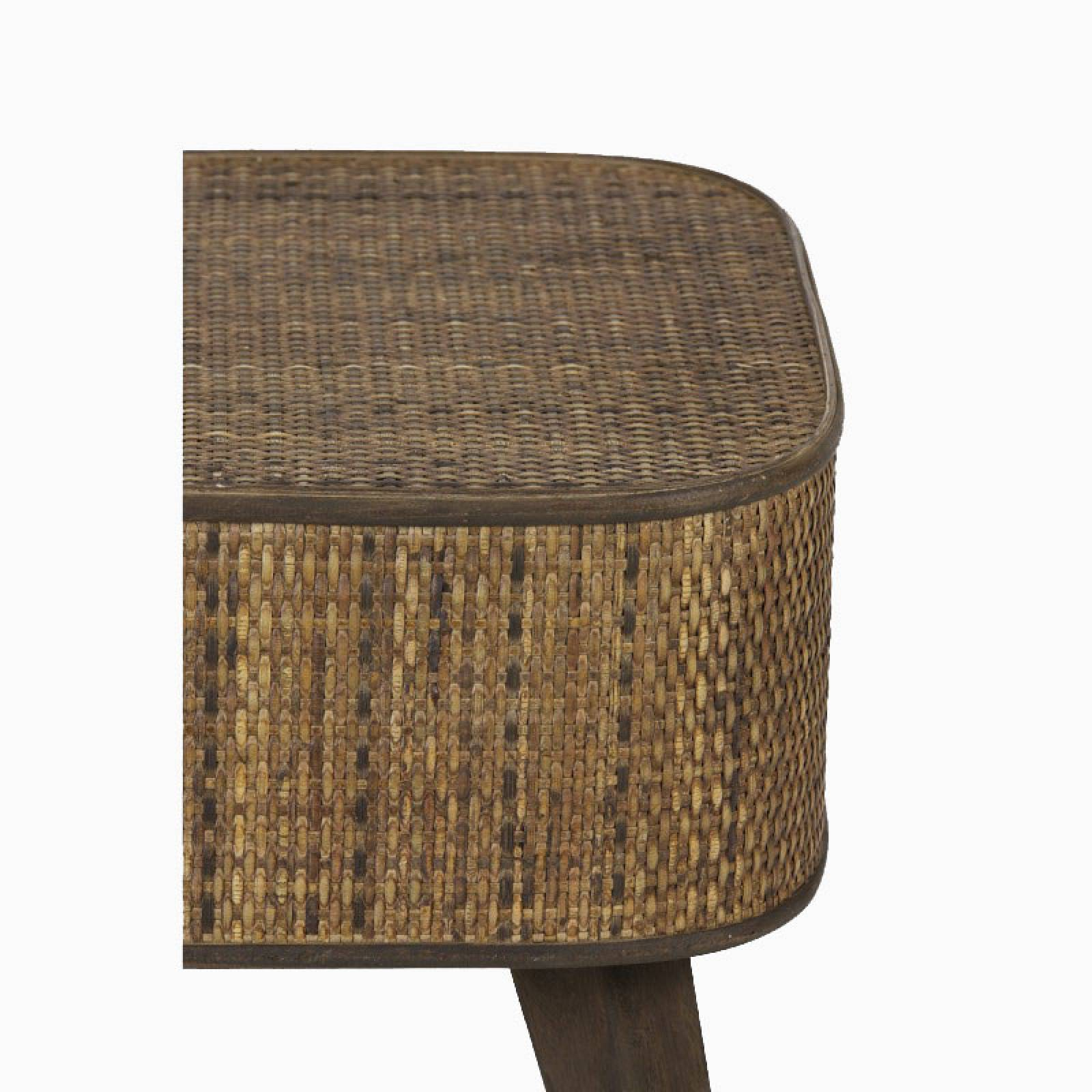 Canya Rectangular Woven Cane Side Table In Dark thumbnails