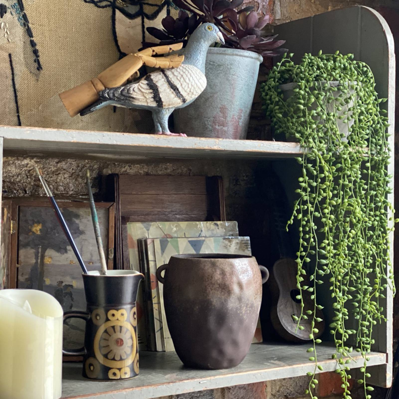 String of Pearl Artificial Plant in Cement Pot thumbnails