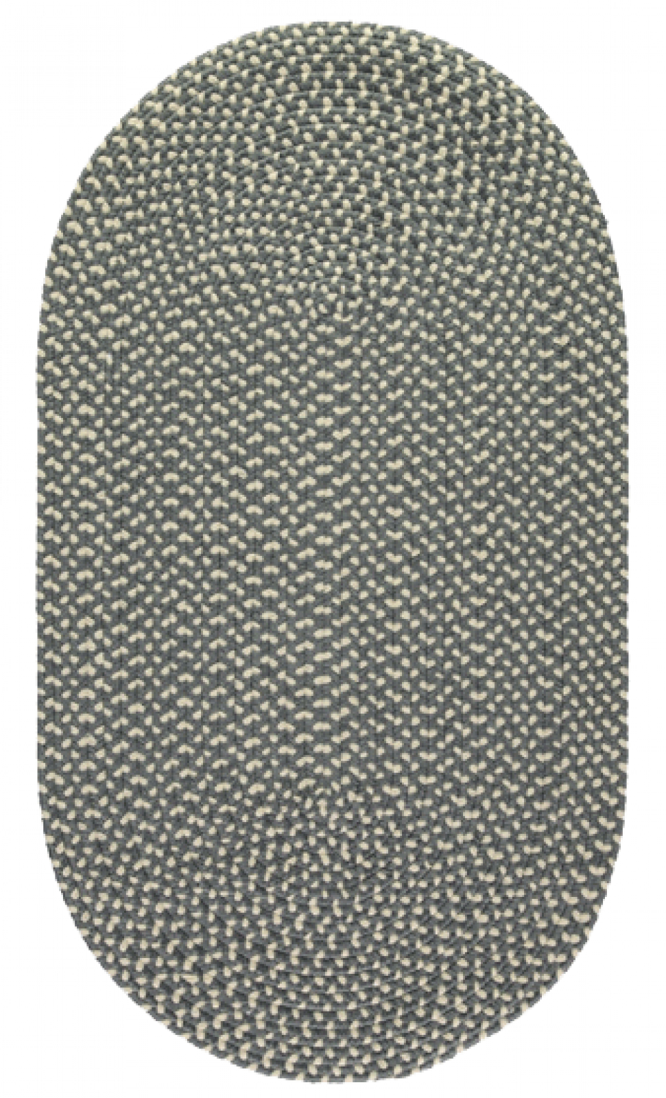 Pewter Oval Braided Rug Recycled Plastic 69X122cm