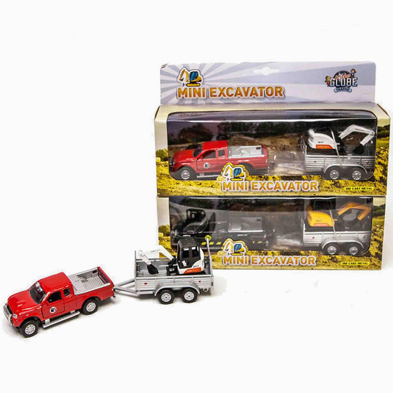 Pick Up Truck & Mini Excavator Diecast Toy Car Set