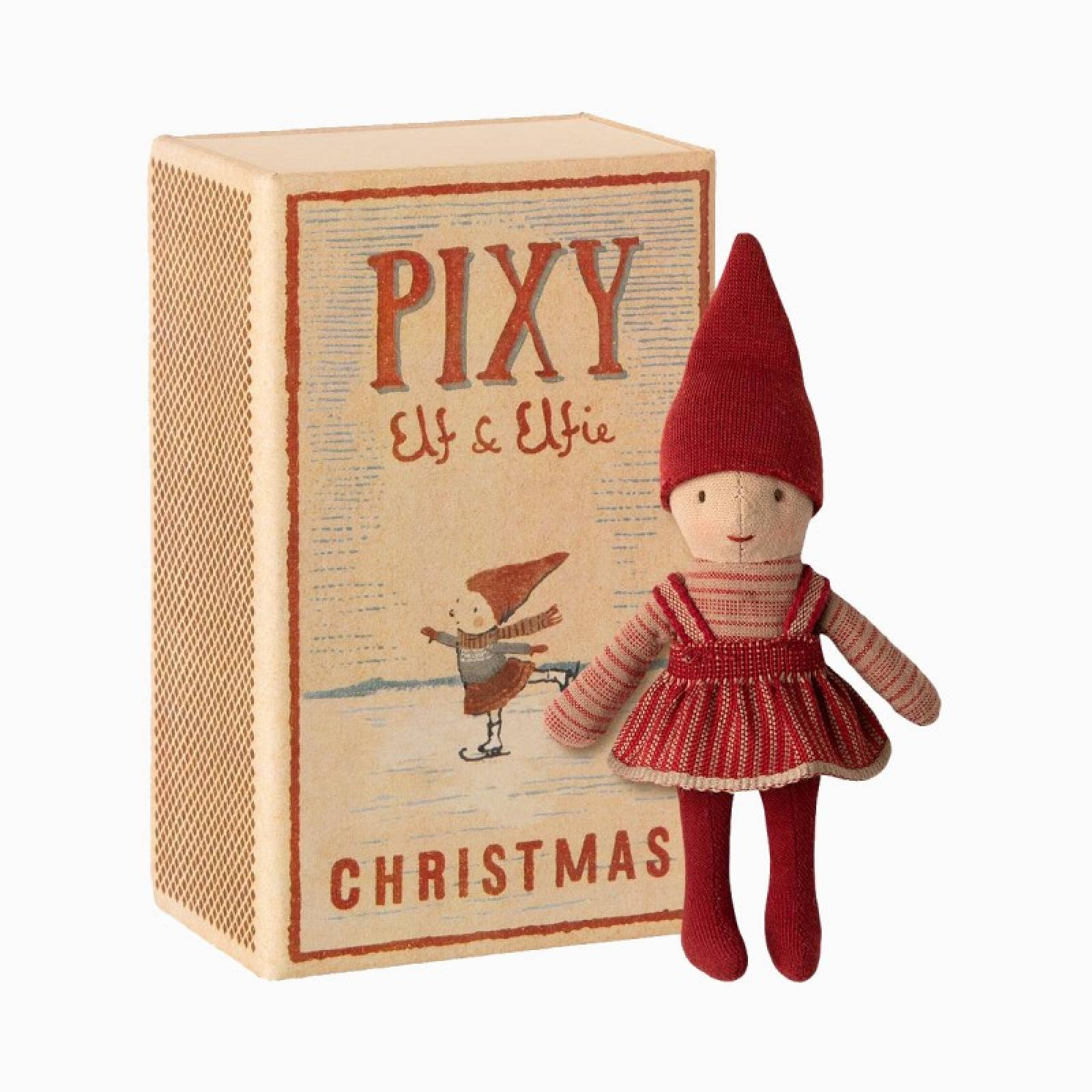 Pixy Elfie In A Matchbox Christmas Soft Toy 3+