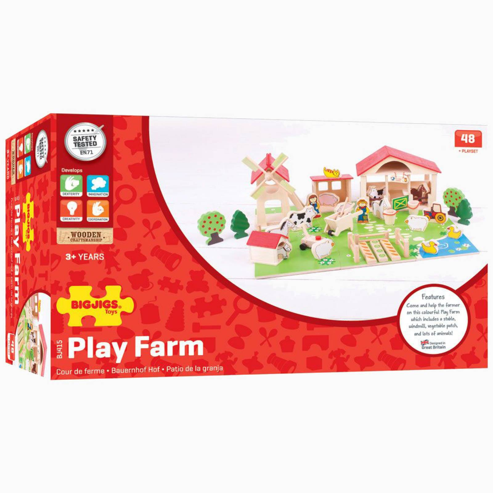 Wooden Traditional Play Farm Set with 49 Pieces thumbnails