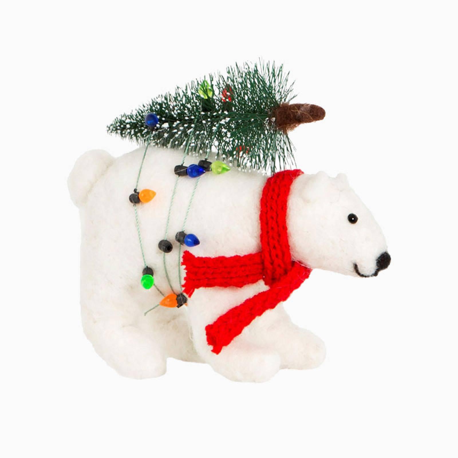 Polar Bear With Tree And Lights Felt Christmas Decoration