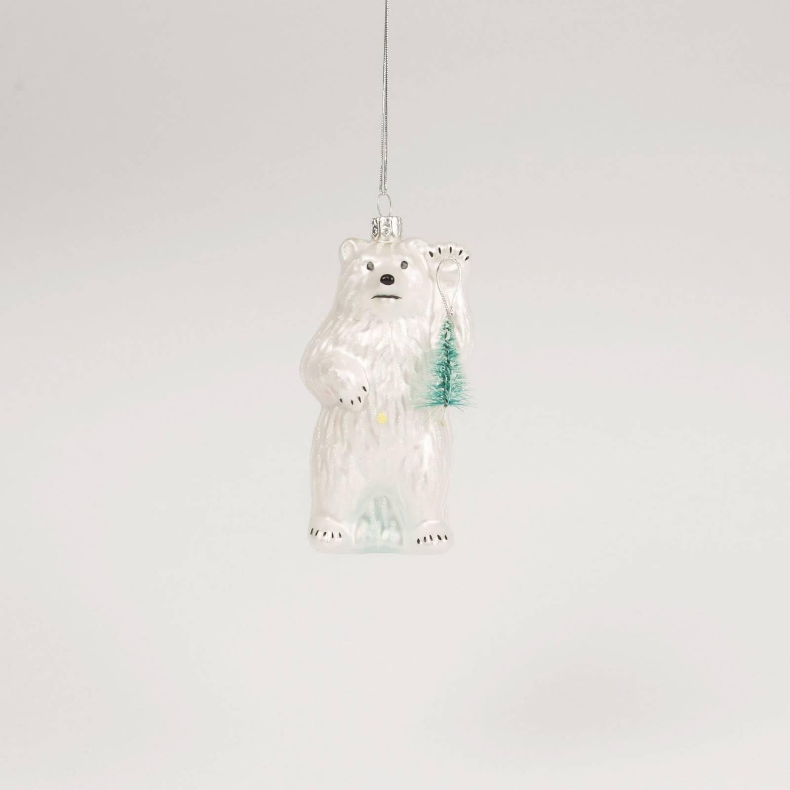 Glass Polar Bear With Tree Christmas Decoration
